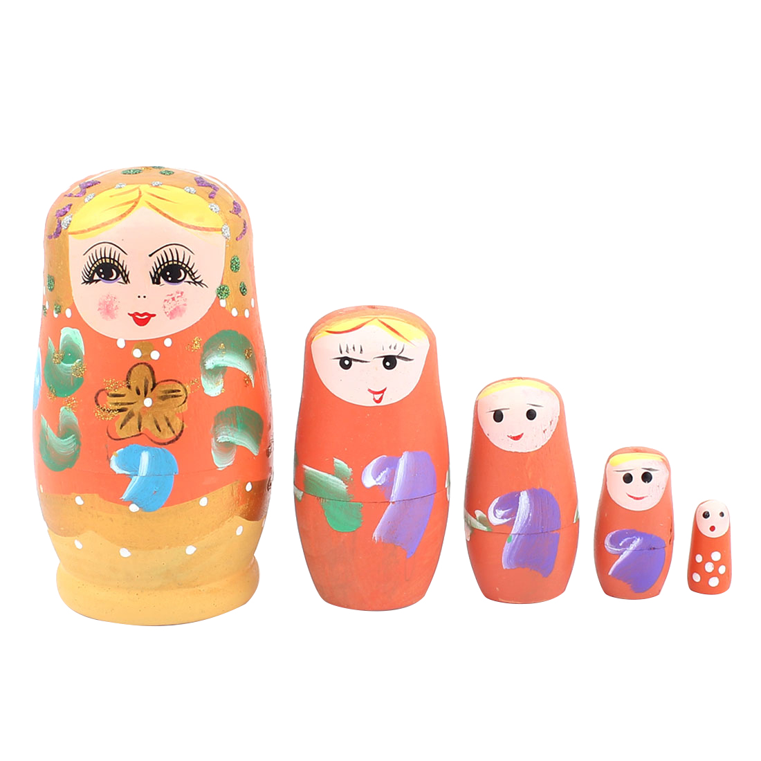 Russian Babushka Flowers Painted Nesting Matryoshka Doll Orange 5 in 1
