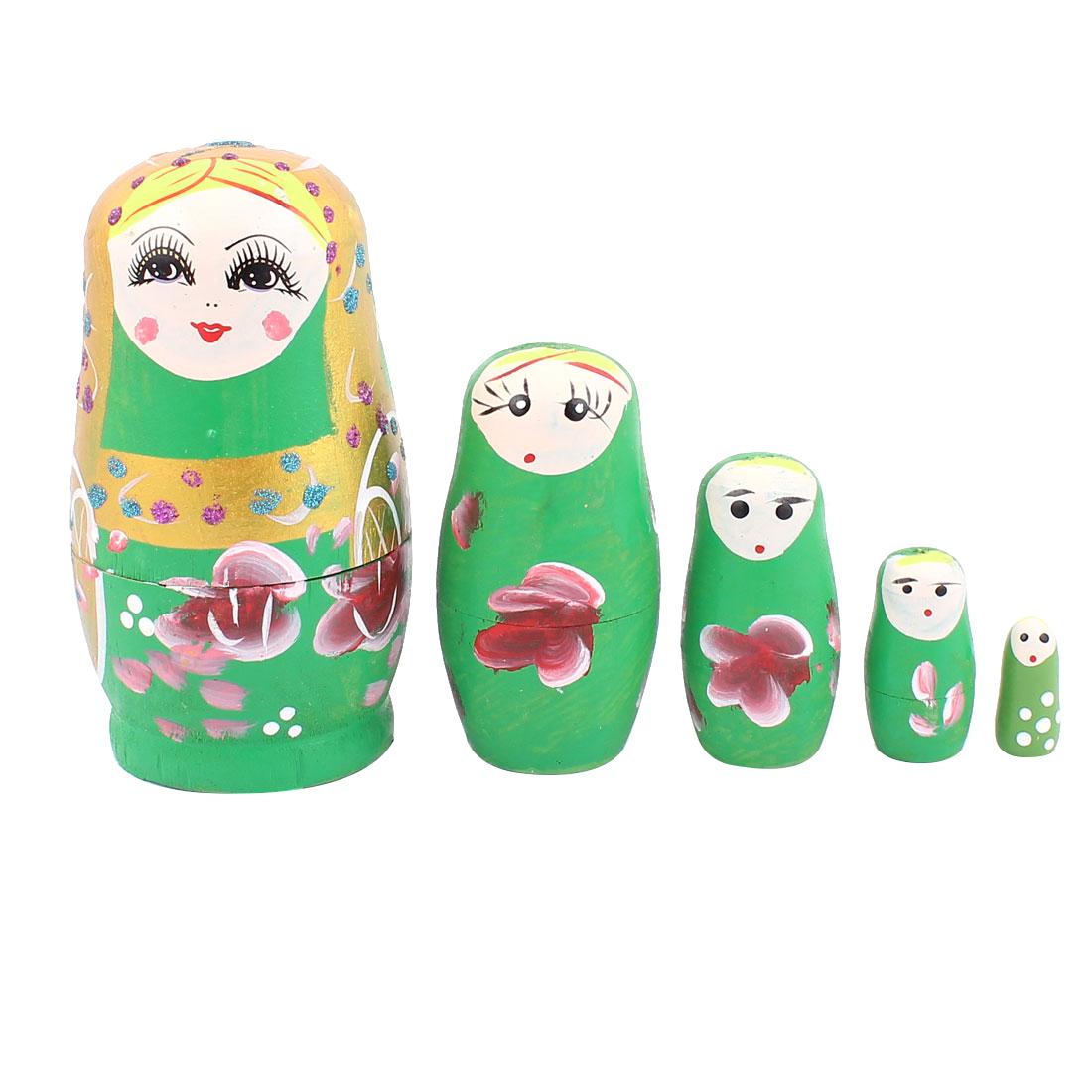 Russian Babushka Flowers Painted Stacking Nesting Matryoshka Doll Green 5 in 1