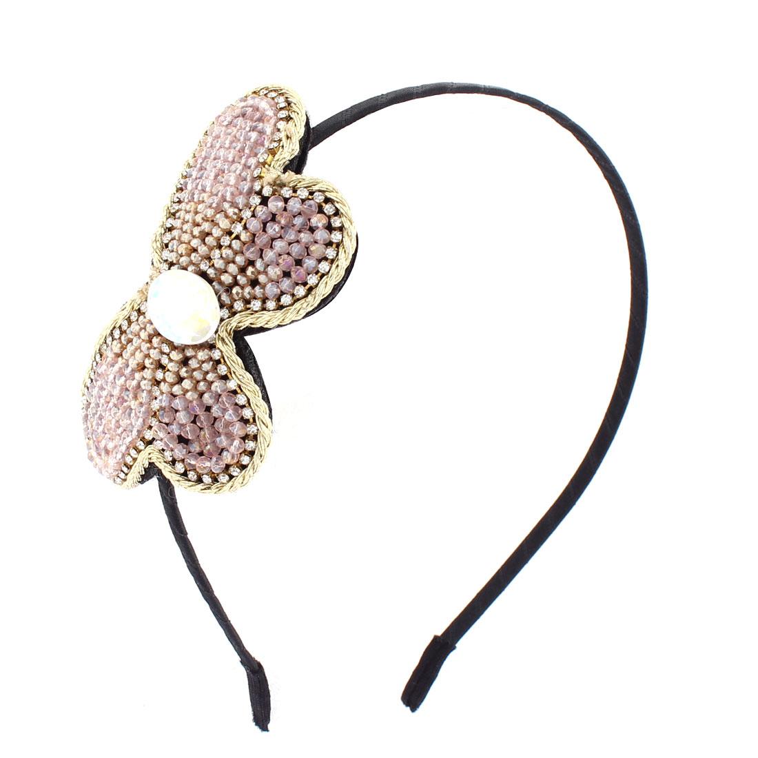 Ladies DIY Gift Rhinestone Plastic Beads Embellished Bowtie Design Slim Metal Hair Hoop Bowknot Gold Tone Light Pink