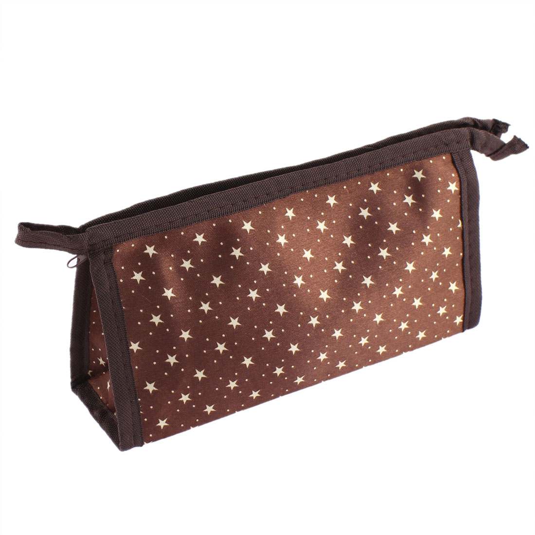 Women Star Pattern Zipper Cosmetic Bag Single Pocket Beauty Makeup Hand Case Container Organizer Coffee Color