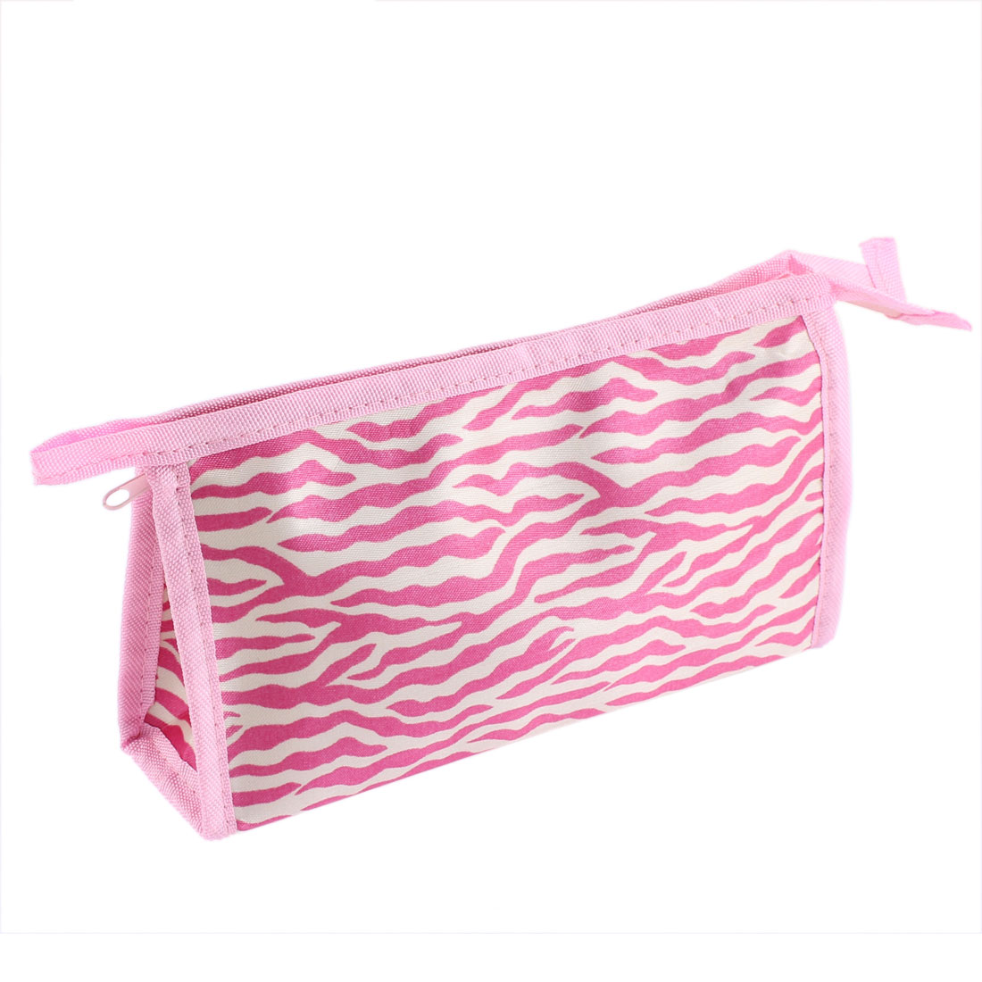 Women Water Wave Pattern Zipper Cosmetic Bag Single Pocket Beauty Makeup Hand Case Container Organizer Pink White