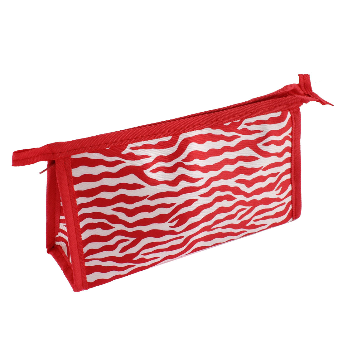 Women Water Wave Pattern Zipper Cosmetic Bag Single Pocket Beauty Makeup Hand Case Container Organizer Red White
