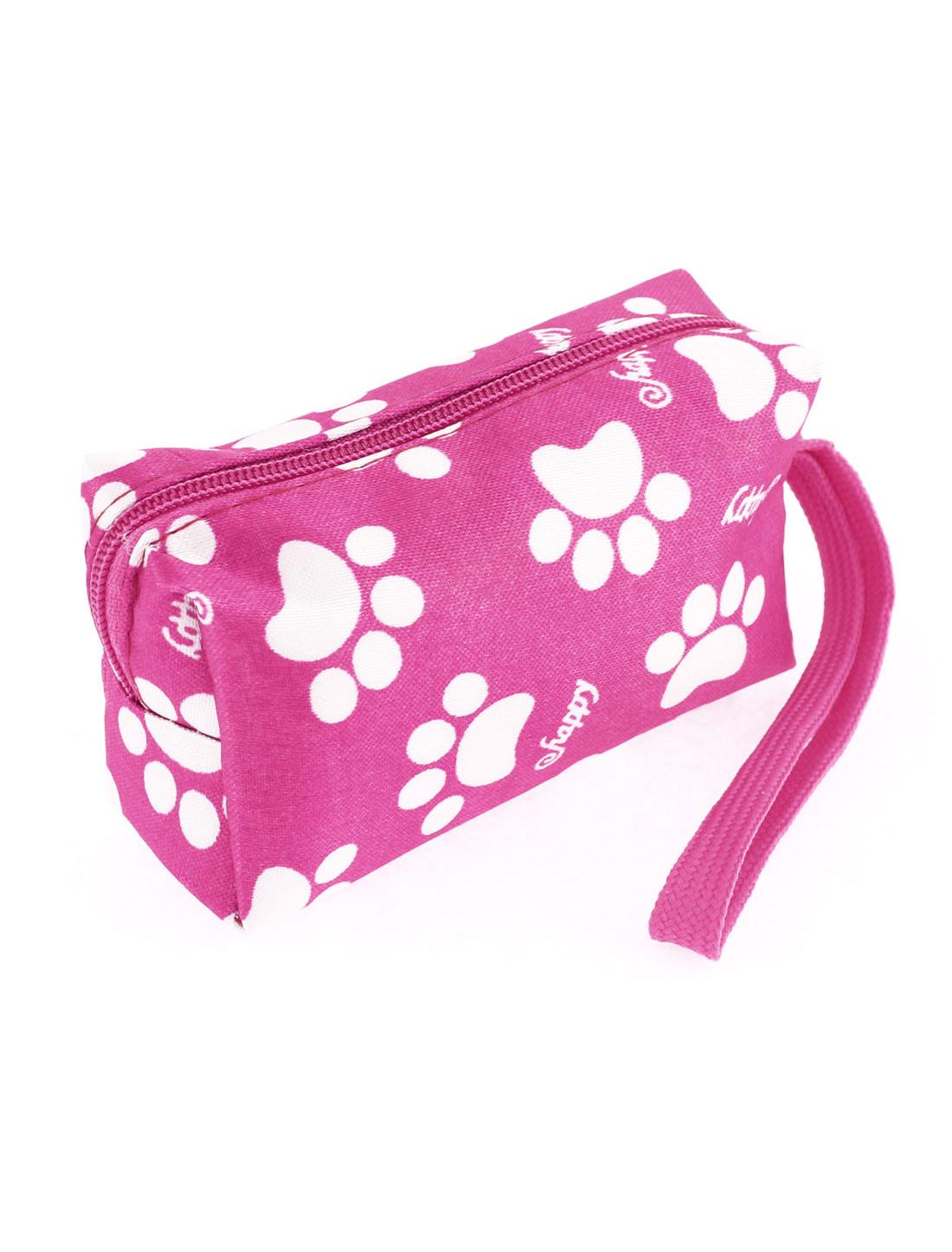 Ladies Zipper Closure White Footprints Pattern Cash Coin Key Credit Card Pink Purse Wallet