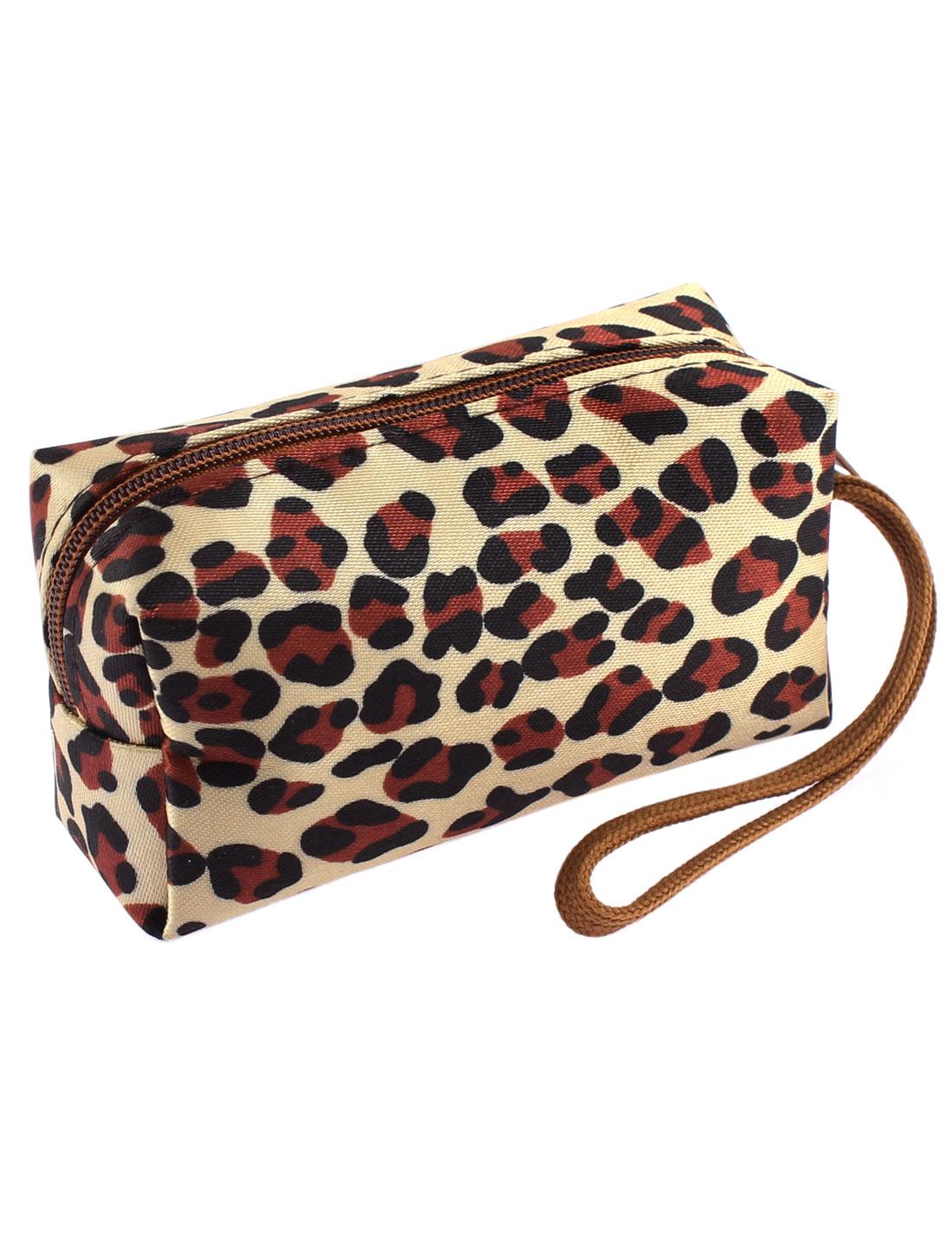 Ladies Zipper Closure Leopard Prints Faux Leather Cash Coin Key Credit Card Purse Wallet Ecru