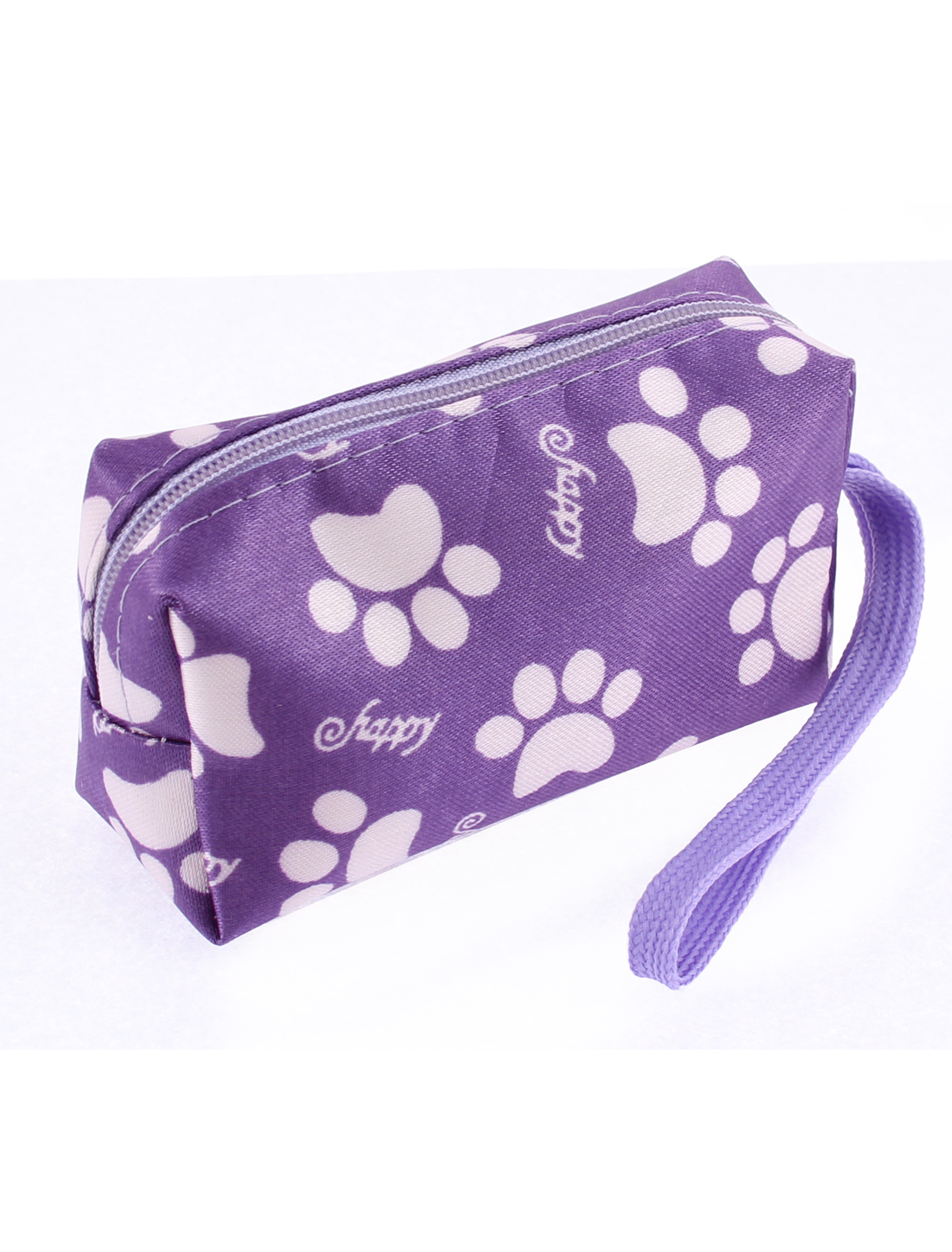 Ladies Zipper Closure White Footprints Pattern Cash Coin Key Credit Card Purple Purse Wallet