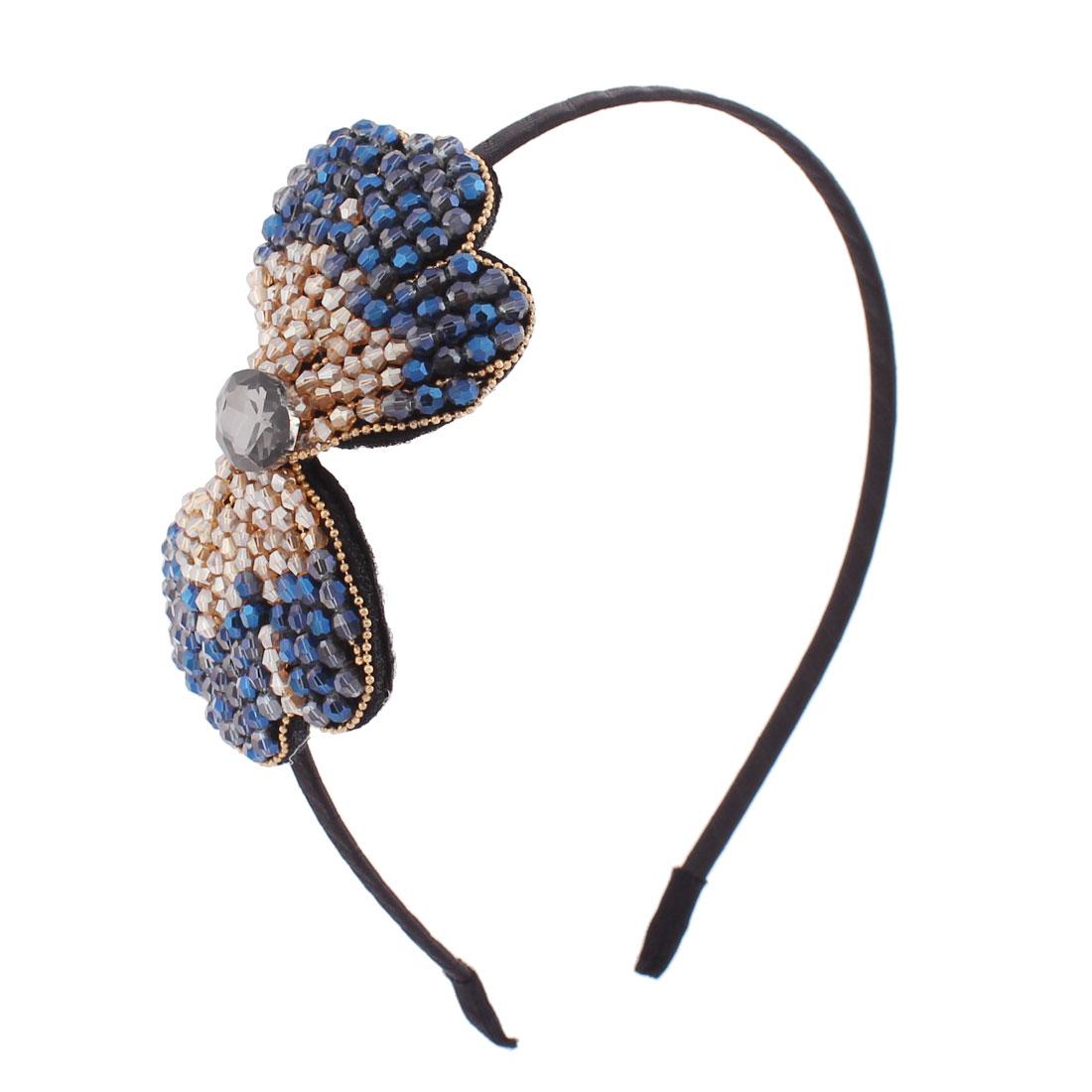 Women Gift Rhinestones Plastic Beads Embellished Bowtie Design Slim Metal Hair Hoop Bowknot Dark Blue Ecru