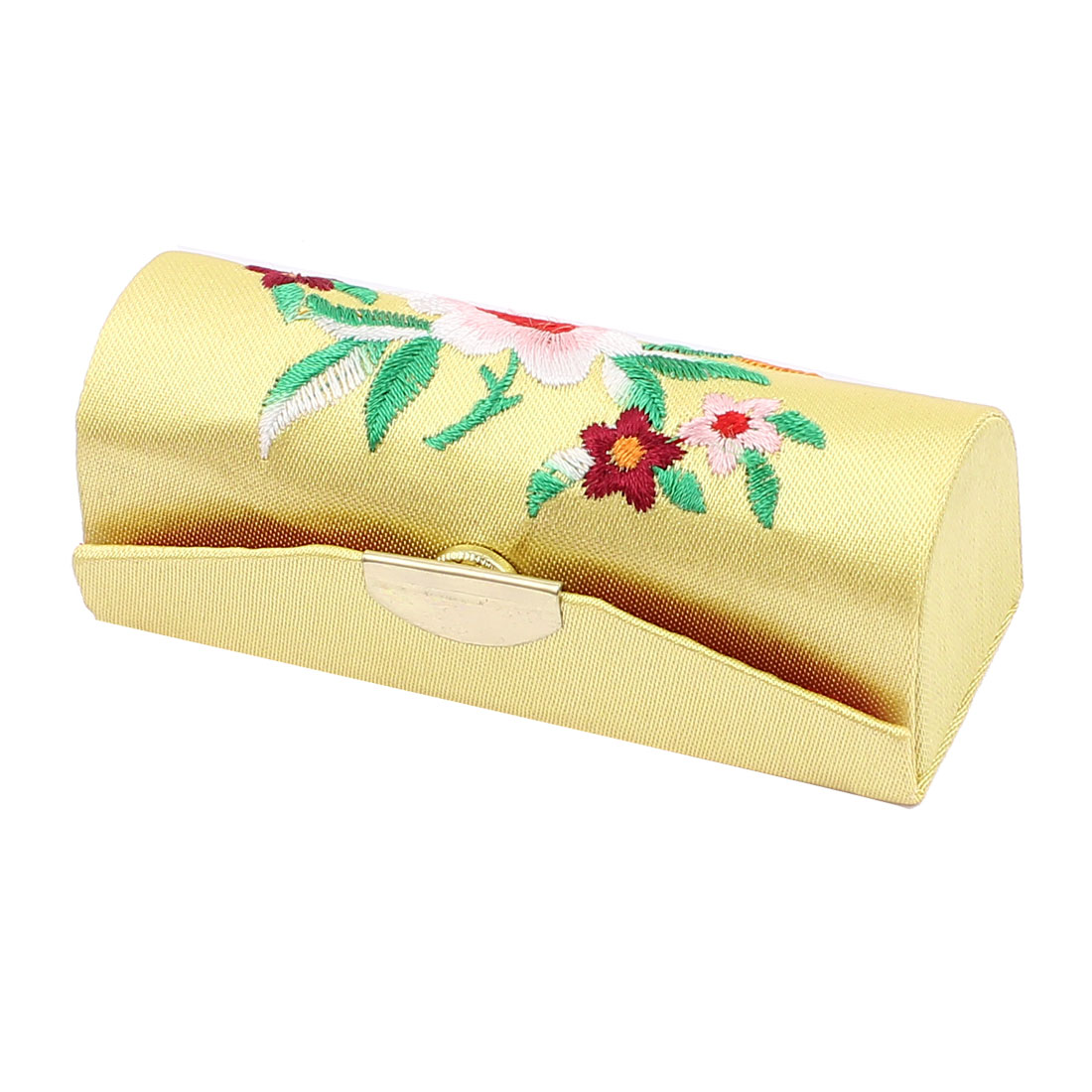 Chinese Style Floral Embroidered Lipstick Lip Chap Stick Case Holder Box Yellow