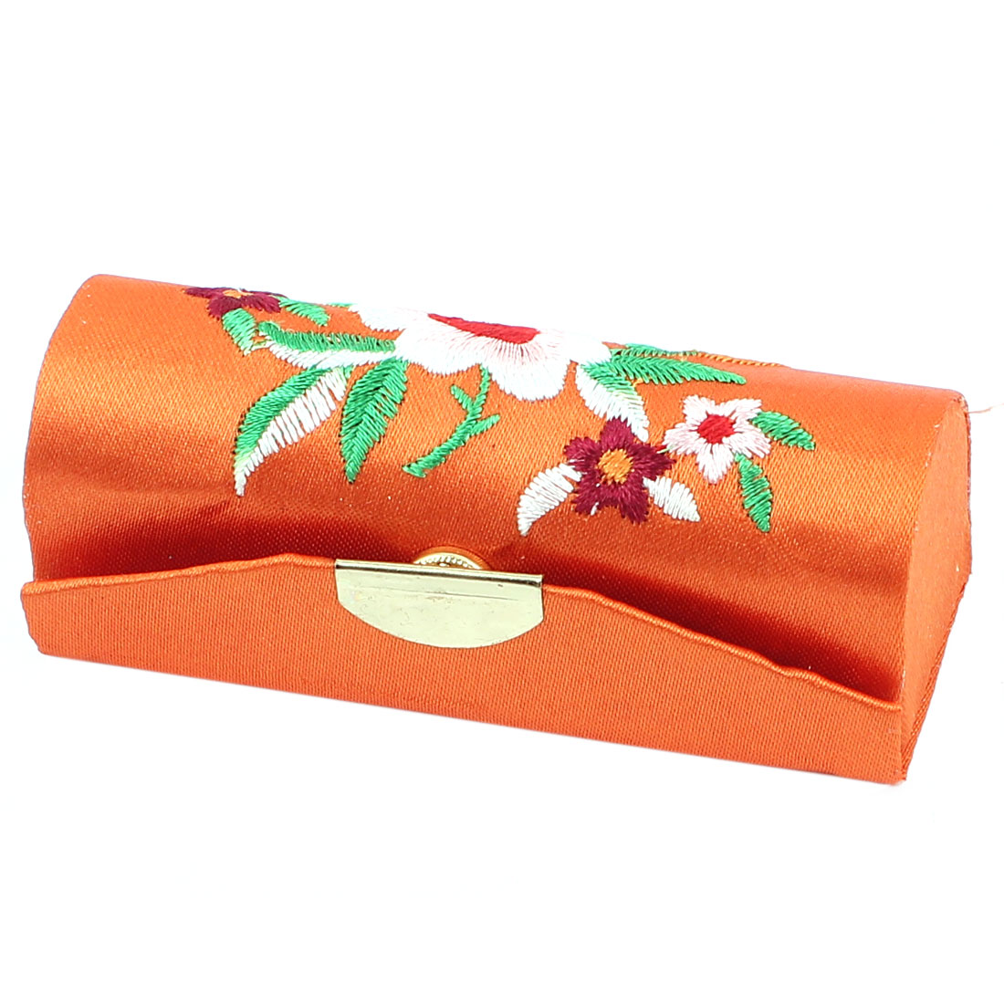Chinese Style Floral Embroidered Lipstick Lip Chap Stick Case Holder Box Orange