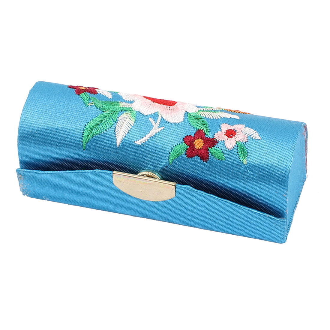Chinese Style Floral Embroidered Lipstick Lip Chap Stick Case Holder Box Blue