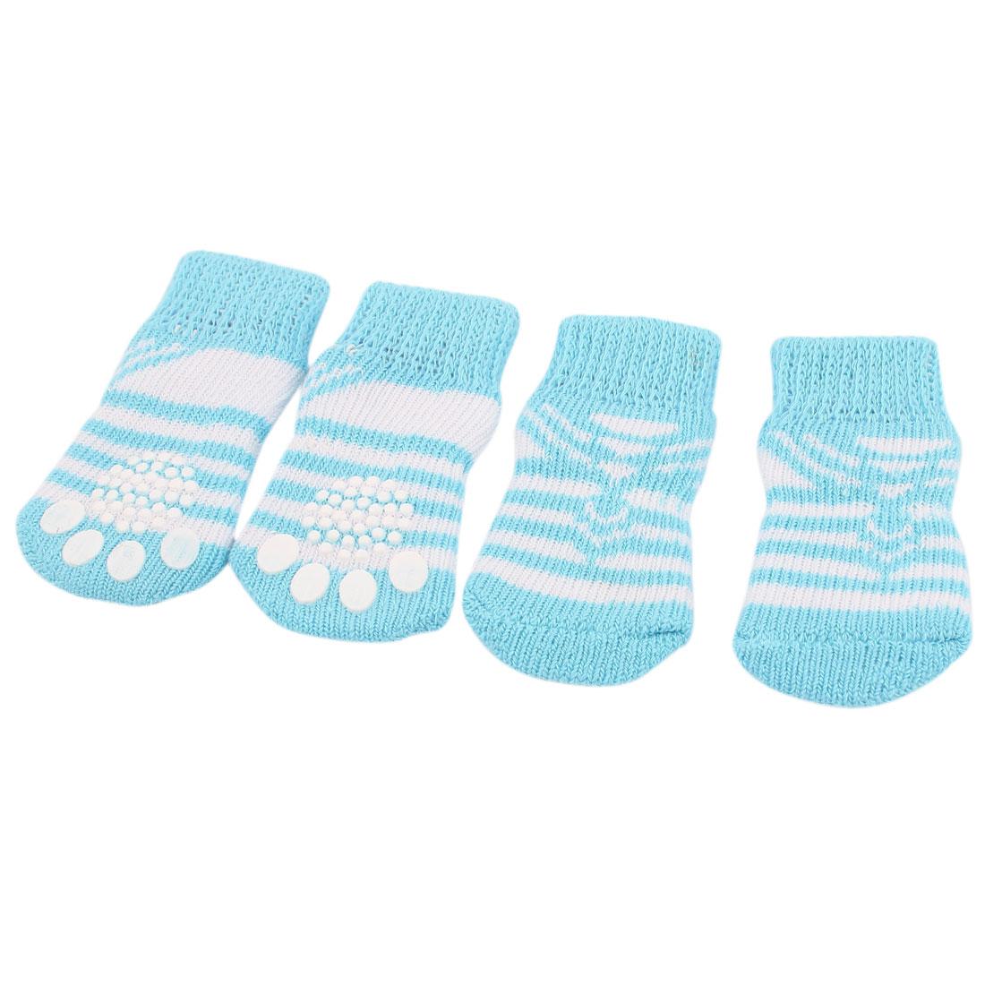 Stripe Pattern Elastic Cuff Pet Dog Socks White Blue 2 Pairs M