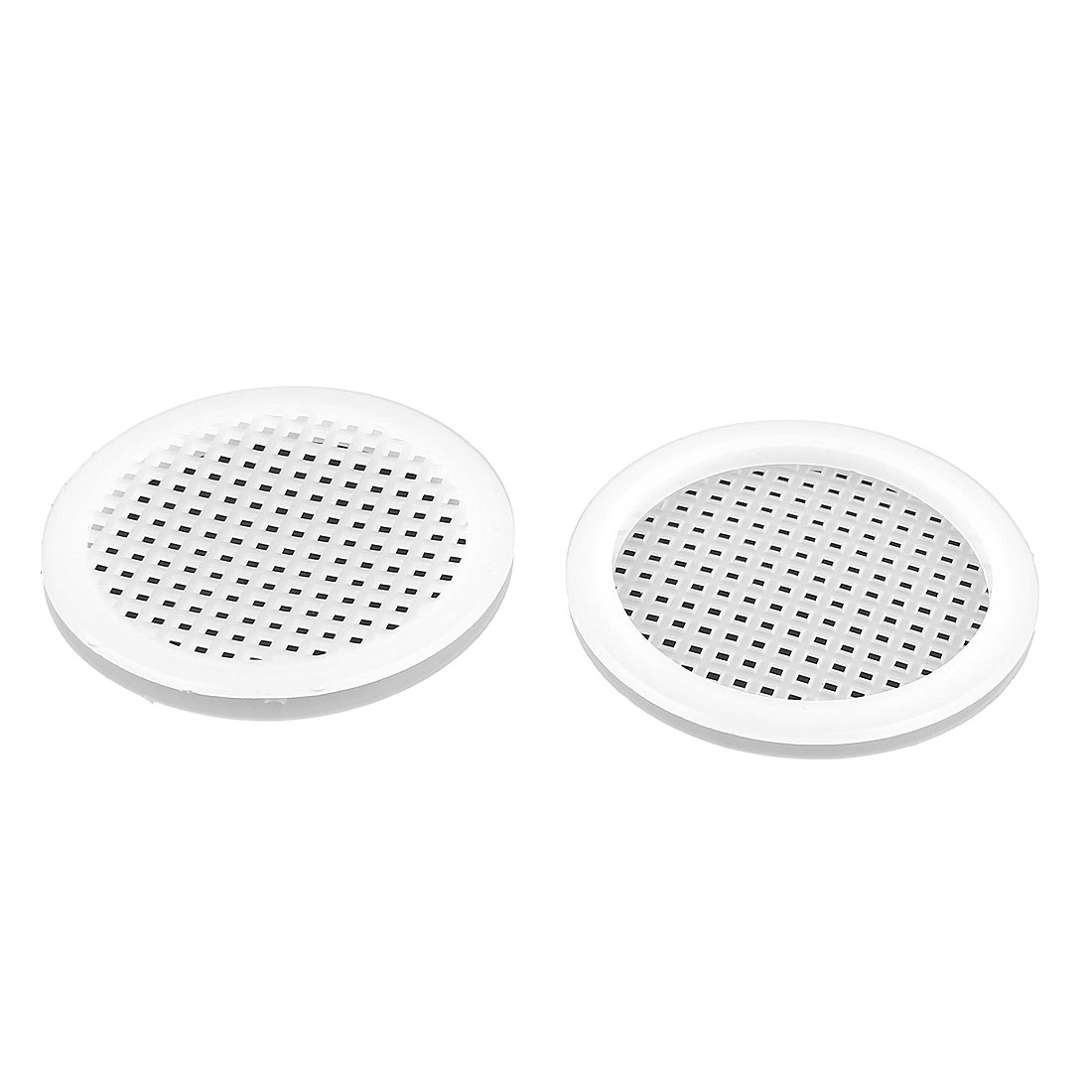 Plastic Round Shape Holes Design Sink Basin Strainer White 2 Pcs