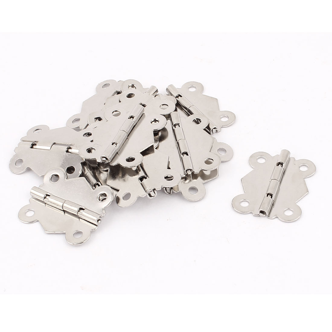 Metal Butterfly Shape Cabinet Gate Closet Door Hinges Silver Tone 13 Pcs