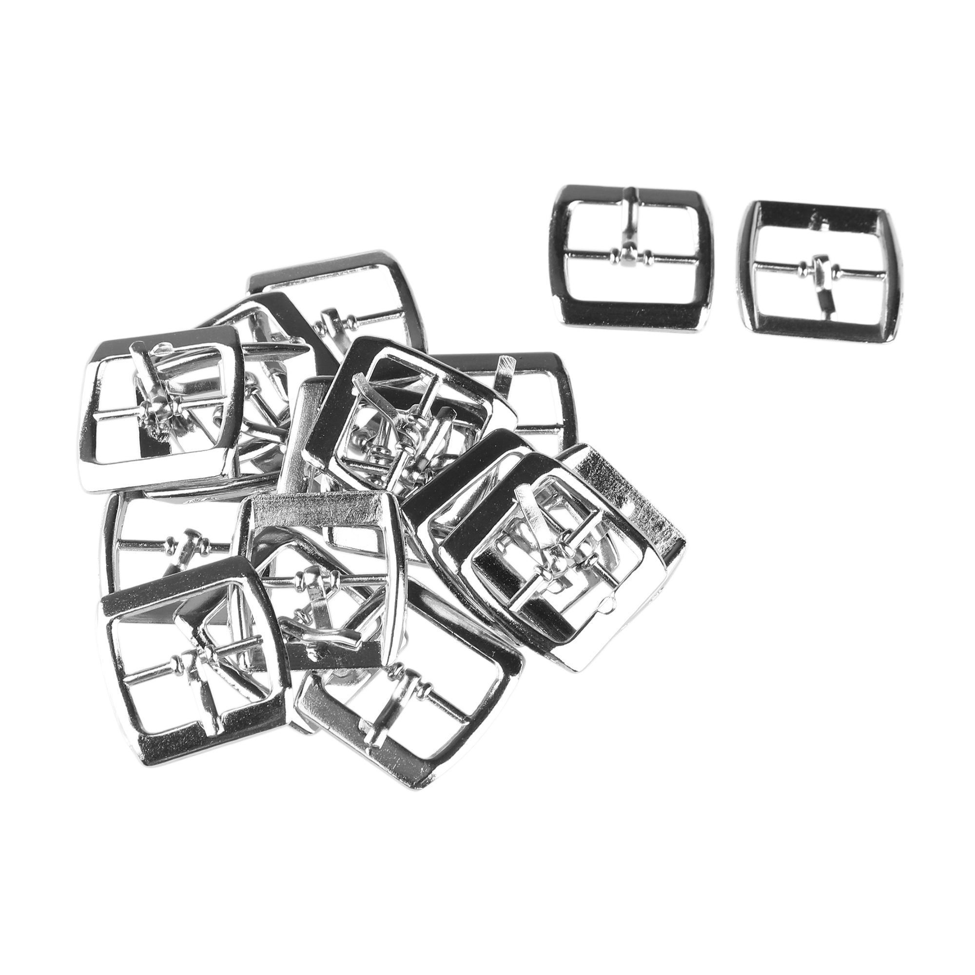 Metallic Single Prong Pin Center Shoes Buckles Silver Tone 19 Pcs