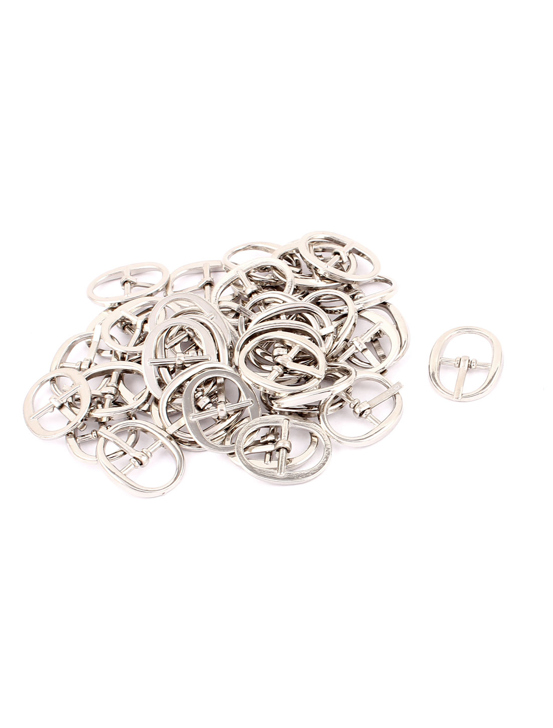 Metal Single Prong Pin Oval Shoes Clip Buckles Silver Tone 40 Pcs