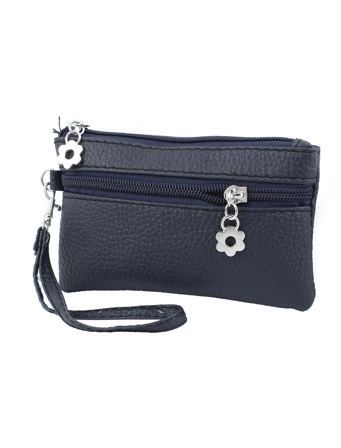 Faux Leather Zippered Wallet Purse Handbag Coin Cards Holder Dark Blue