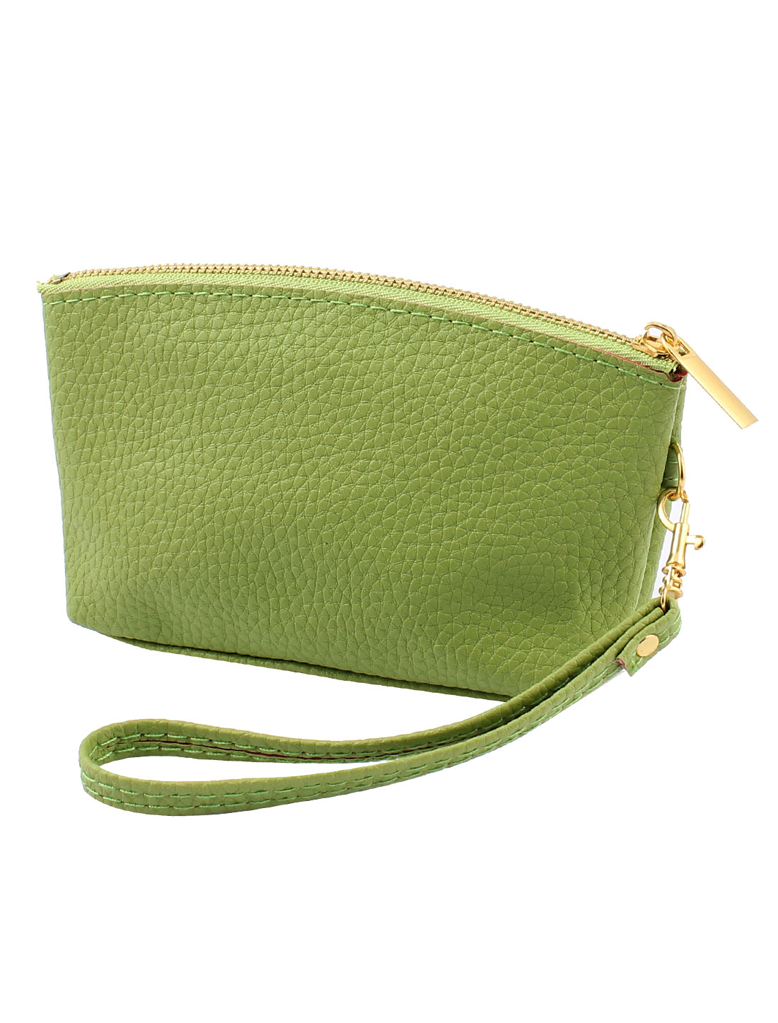 PU Leather Zipper Closure Coin Bag Purse Wallet Card Holder Green