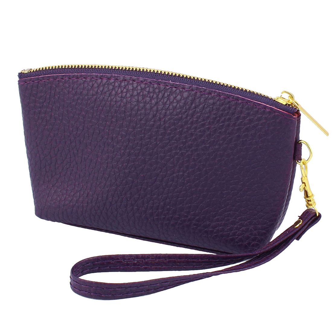 PU Leather Zipper Closure Coin Bag Purse Wallet Card Holder Dark Purple