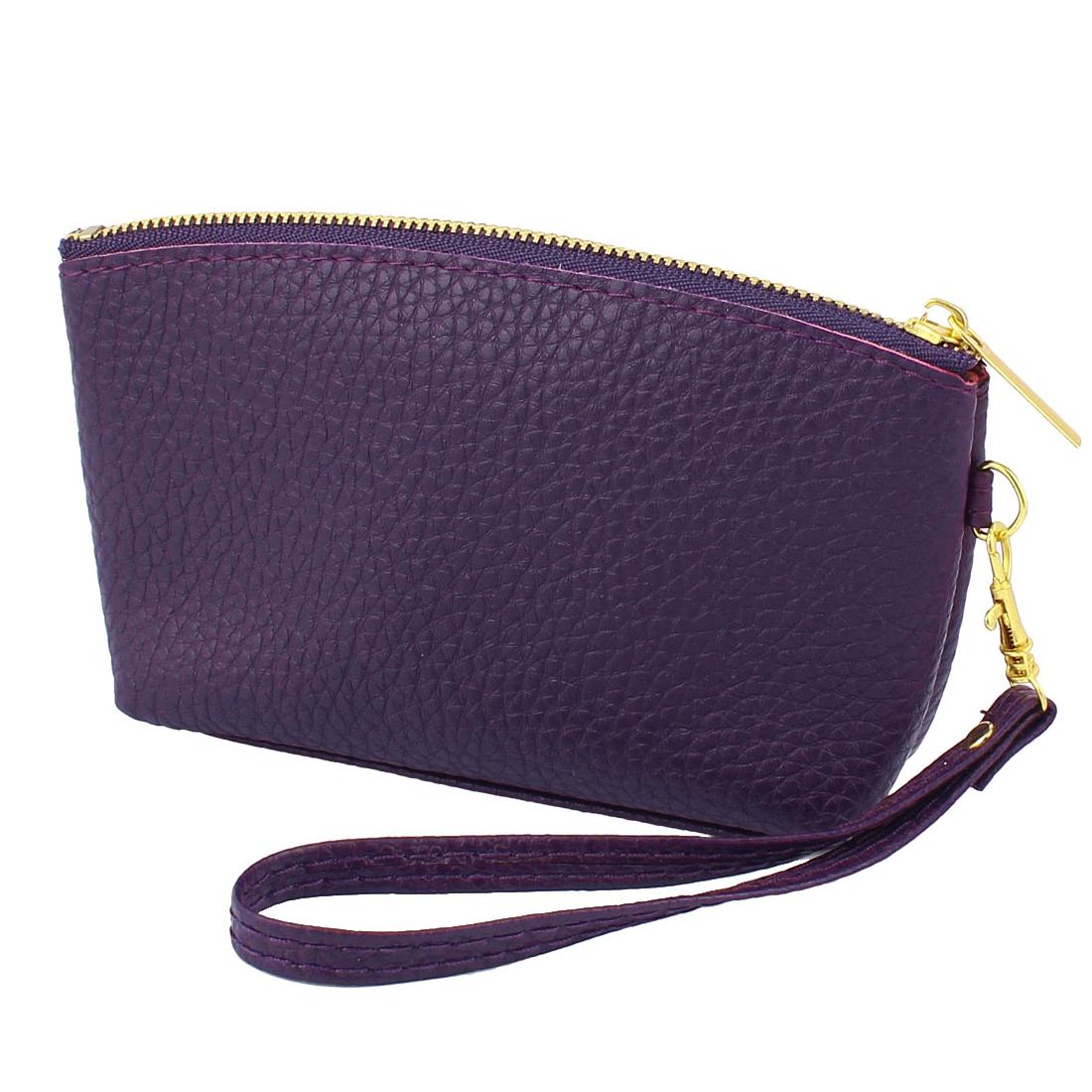 PU Leather Zipper Closure Coin Bag Purse Wallet Card Holder Dark Purple