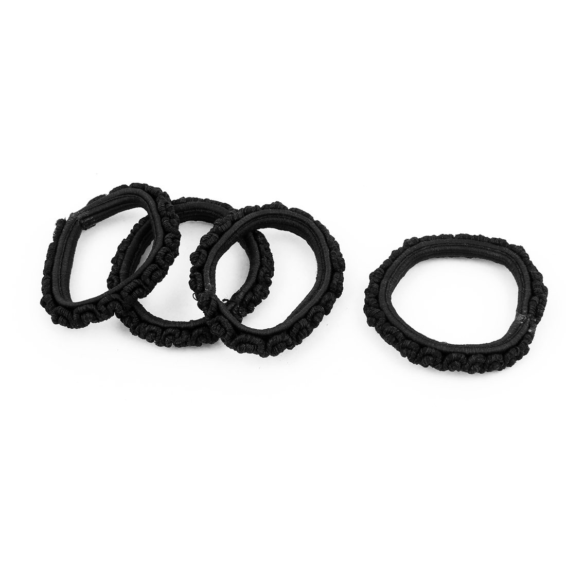 Elastic Rubber Hair Bands Ponytail Holder Black 4 Pcs