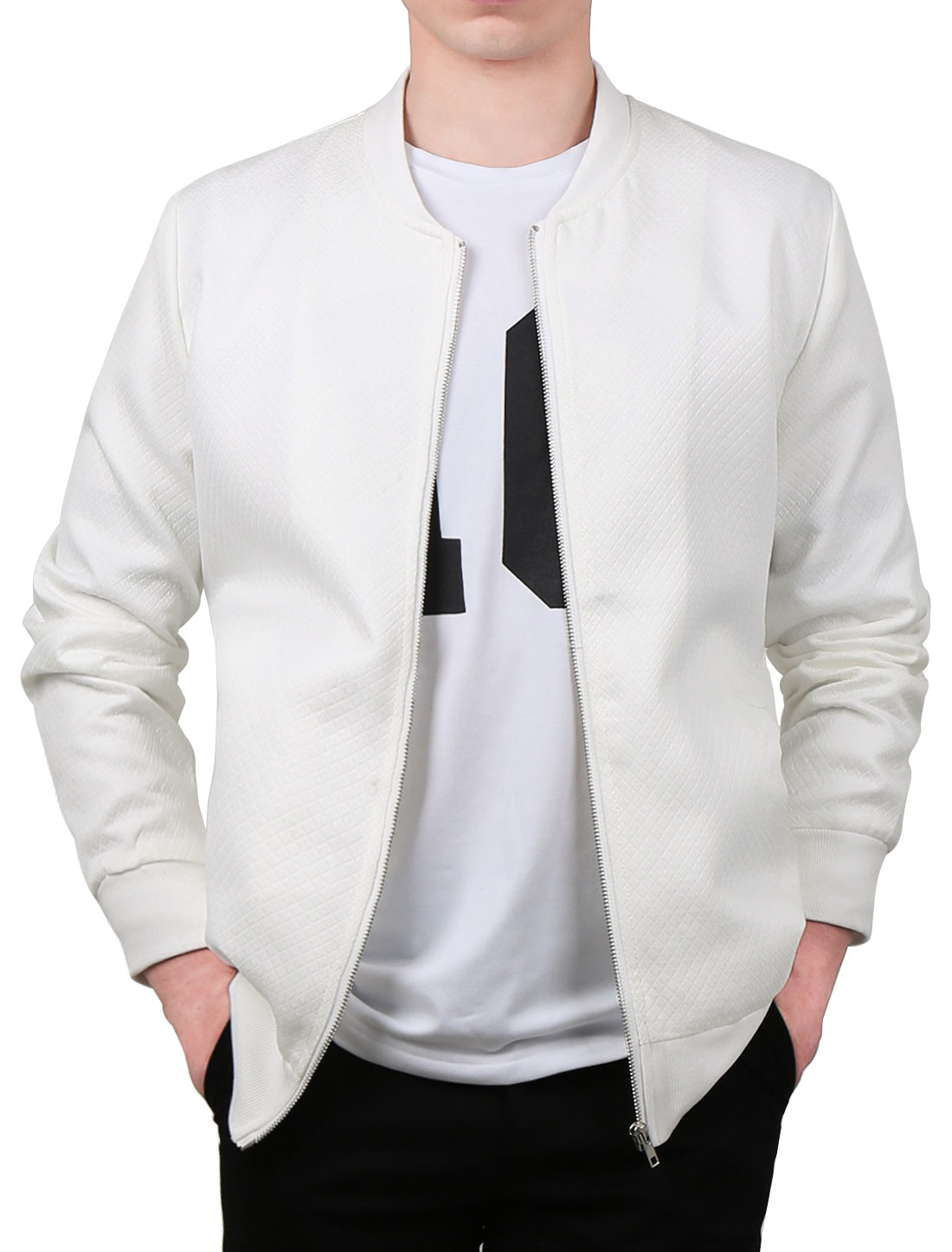 Men Argyle Design Stand Collar Zippered Jacket White L