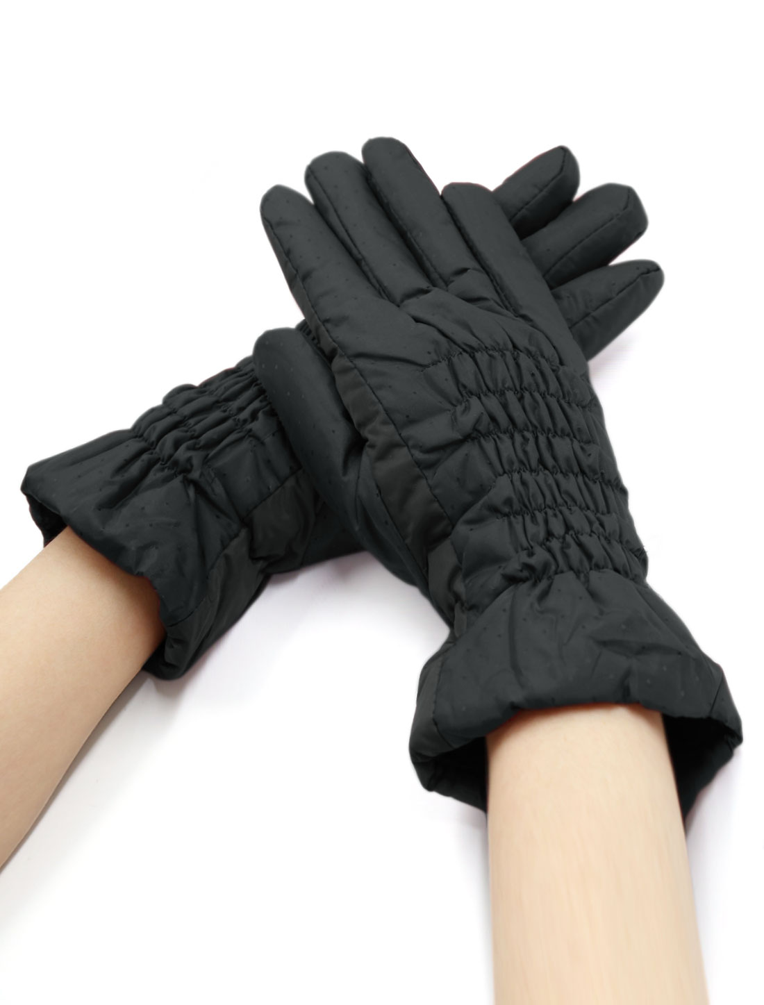 Women Smocked Plaids Design Soft Lined Padded Full Finger Gloves Black