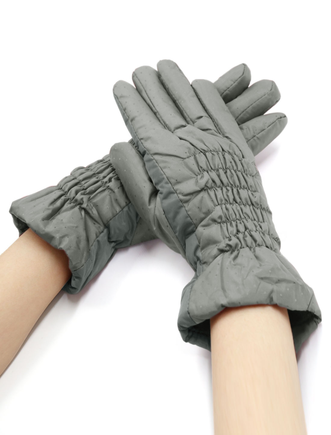 Women Smocked Plaids Design Soft Lined Padded Full Finger Gloves Gray