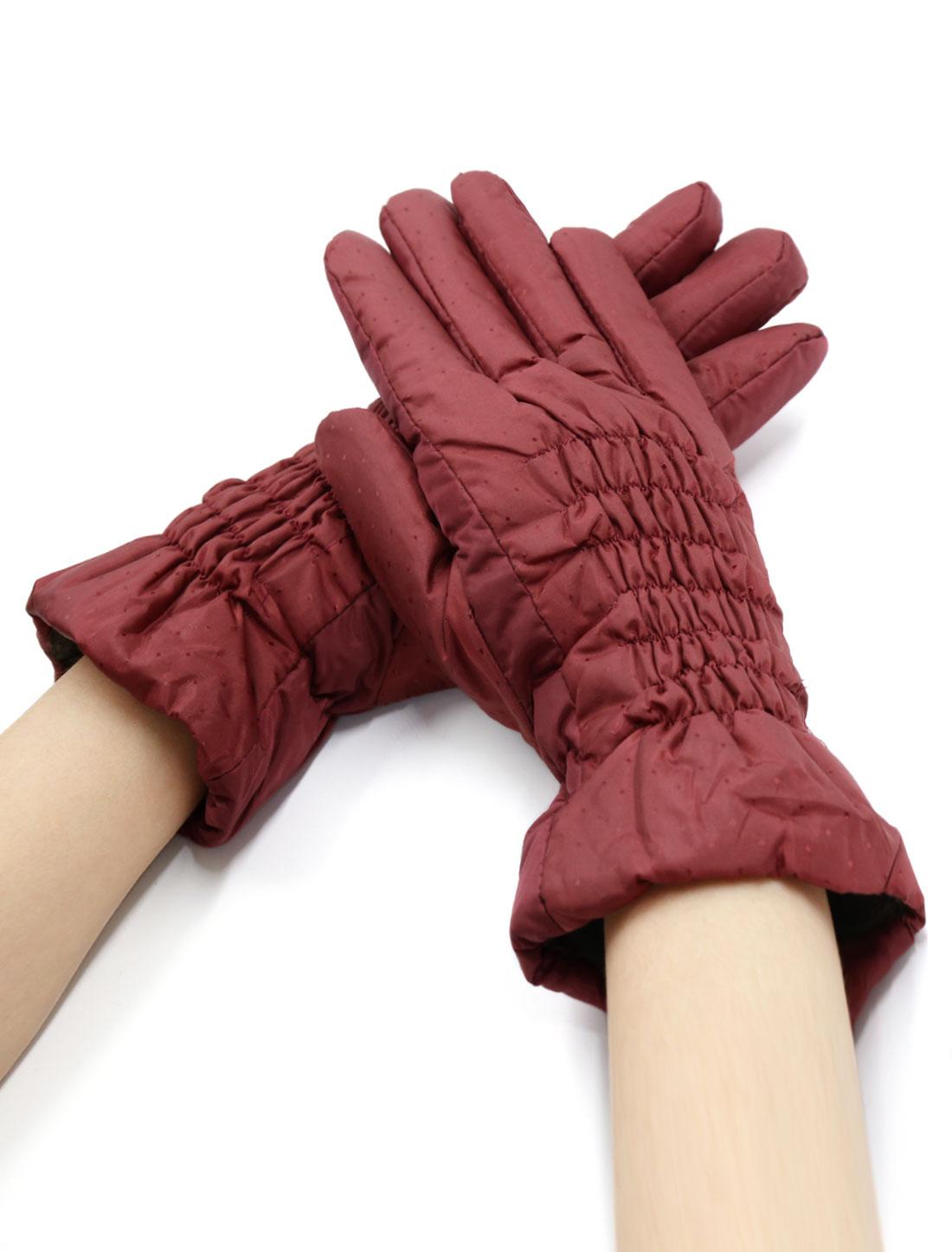 Women Smocked Plaids Design Soft Lined Padded Full Finger Gloves Red
