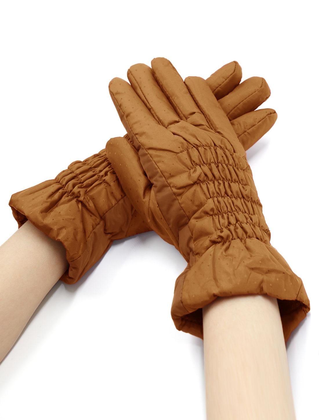 Women Smocked Plaids Design Soft Lined Padded Full Finger Gloves Brown