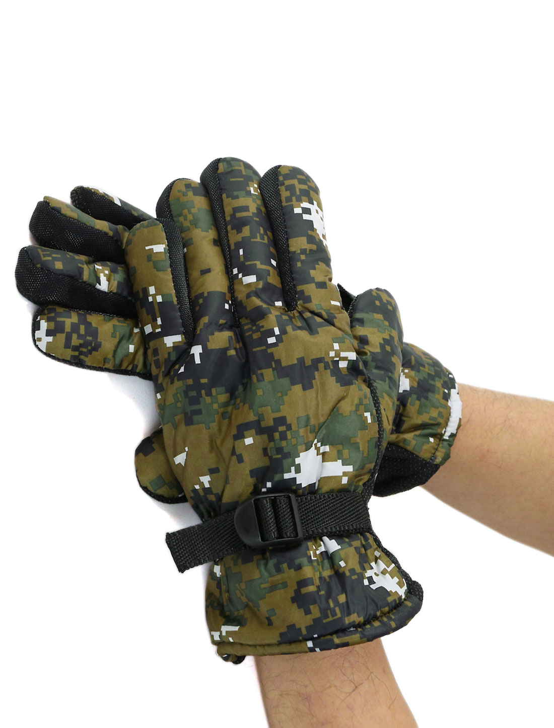 Men Adjustable Buckle Anti-slip Camouflage Gloves Pair Green