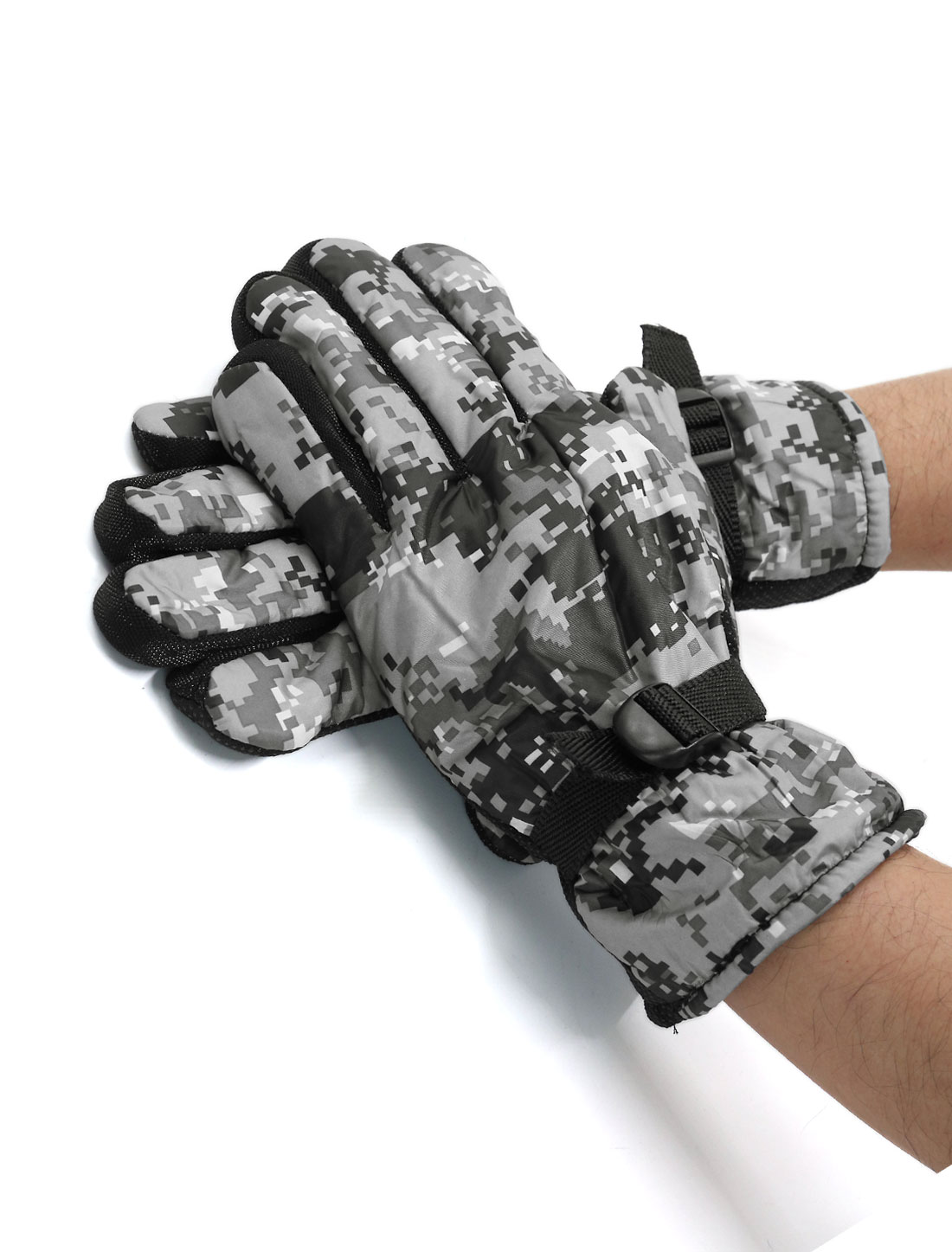 Men Adjustable Bukle Anti-slip Camouflage Gloves Pair Gray
