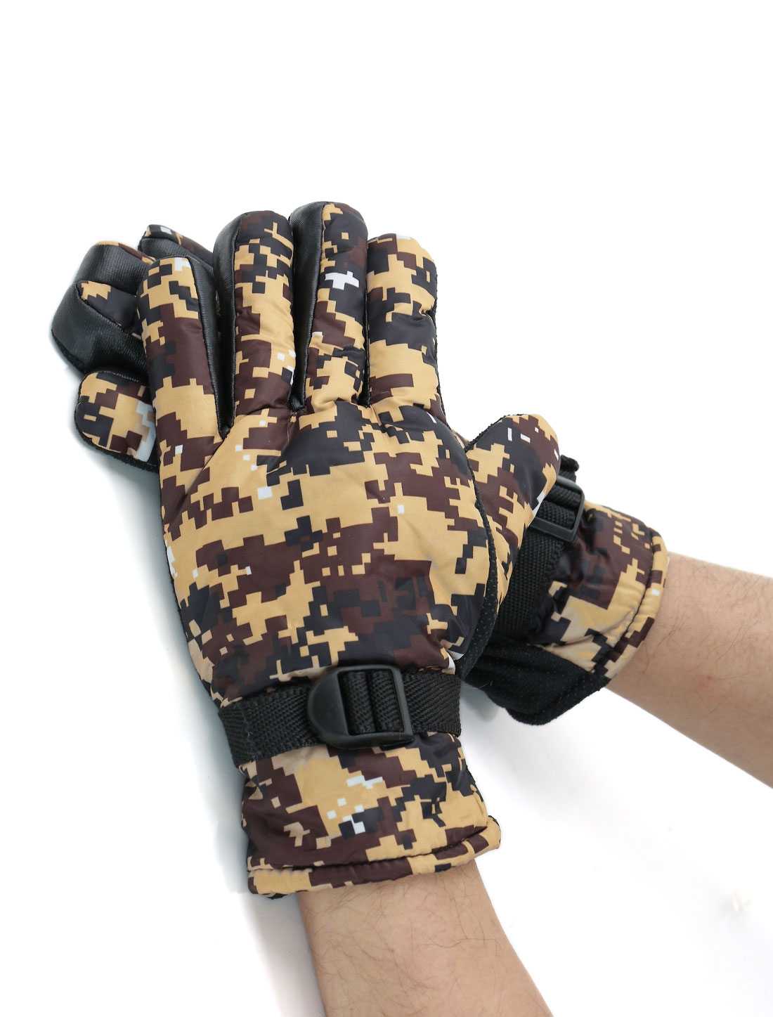 Men Adjustable Buckle Anti-slip Camouflage Gloves Pair Yellow