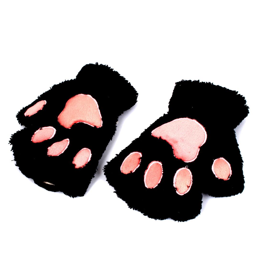 Women Cat Paw Neck Hanging Design Plush Fingerless Gloves Black