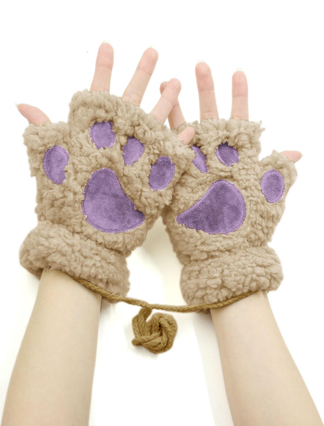 Women Cat Paw Neck Hanging Design Plush Fingerless Gloves Dark Beige