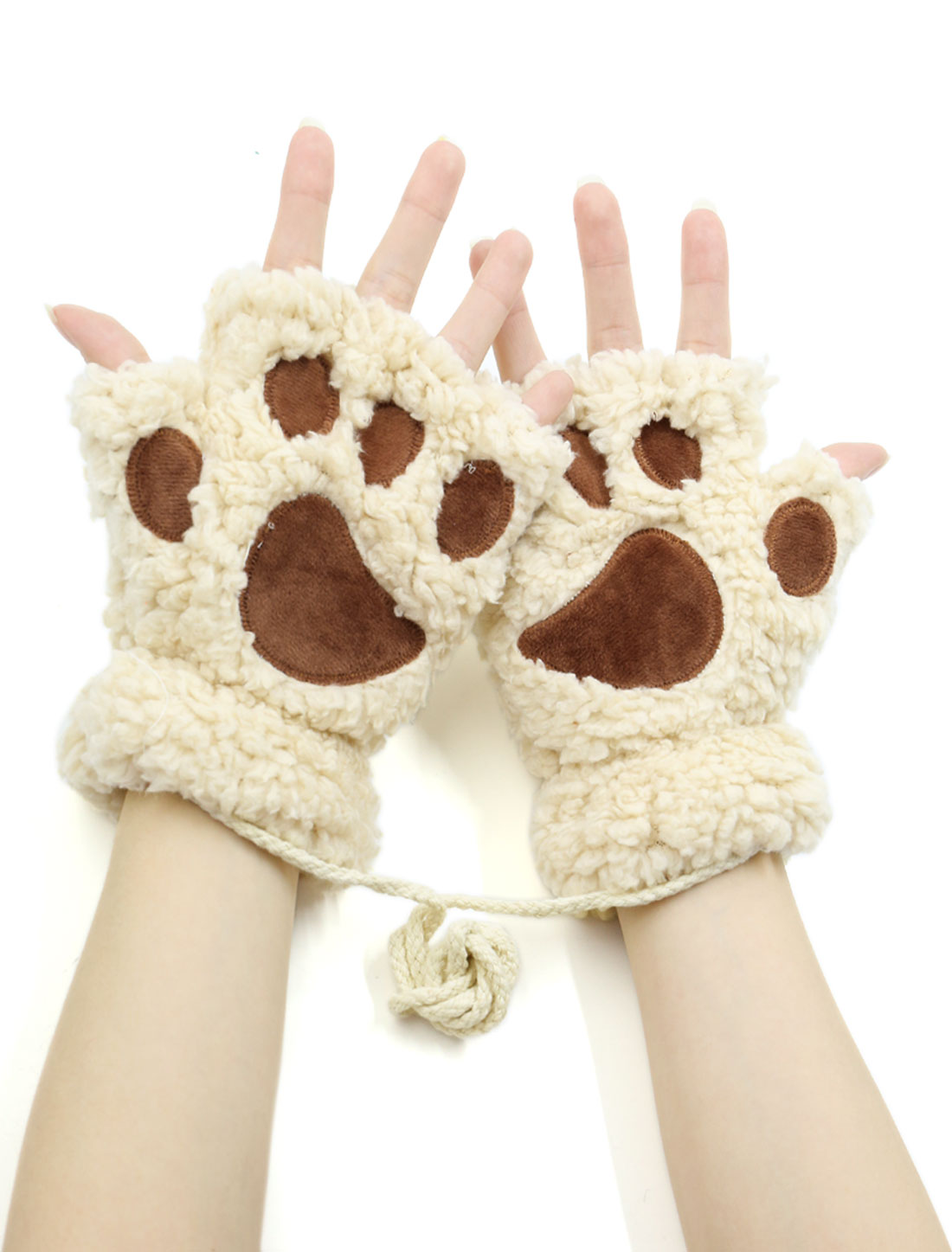 Women Cat Paw Neck Hanging Design Plush Fingerless Gloves Beige