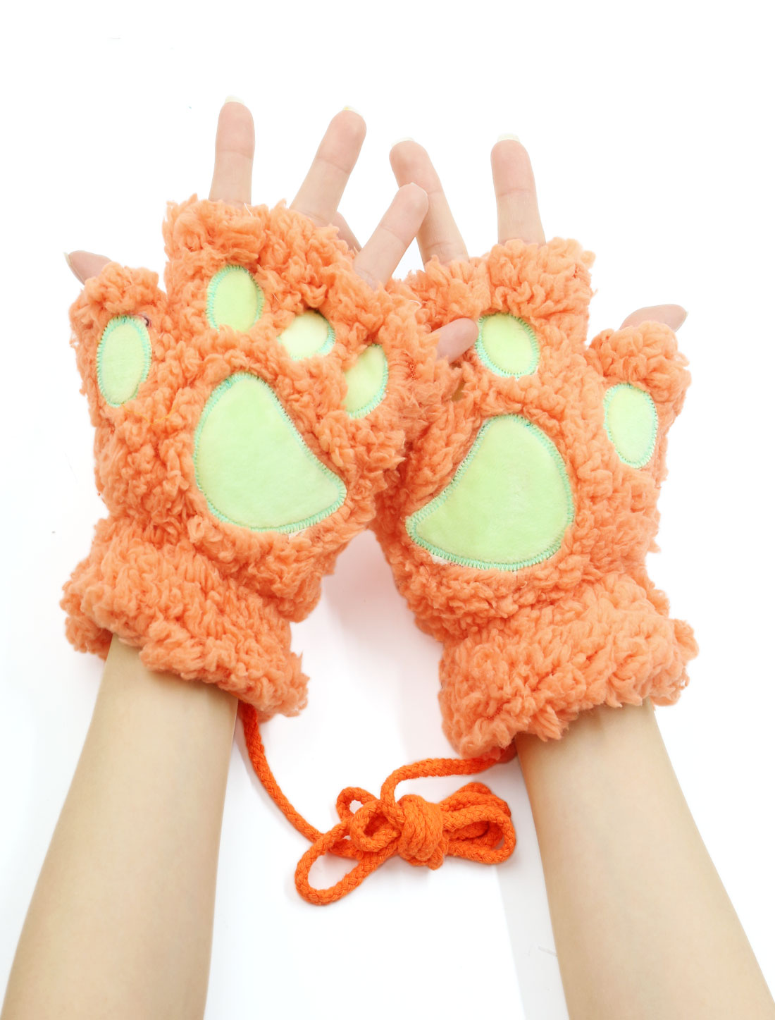 Women Cat Paw Neck Hanging Design Plush Fingerless Gloves Orange