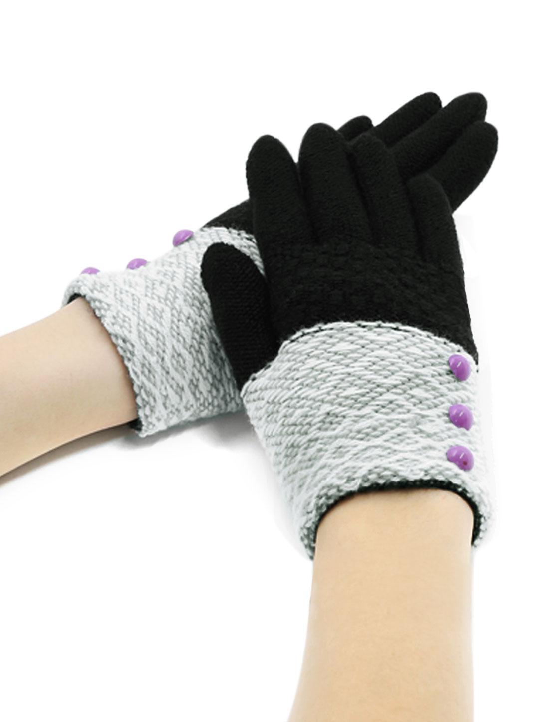 Girls Buttons Decor Color Block Full Finger Knitted Gloves Black