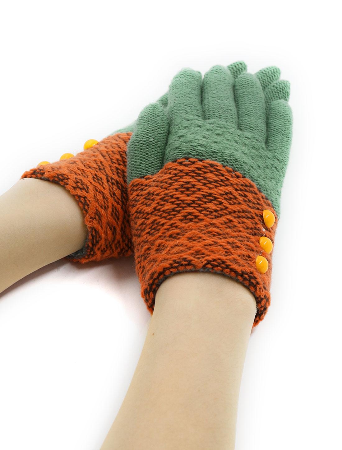 Girls Buttons Decor Color Block Full Finger Knitted Gloves Black Green