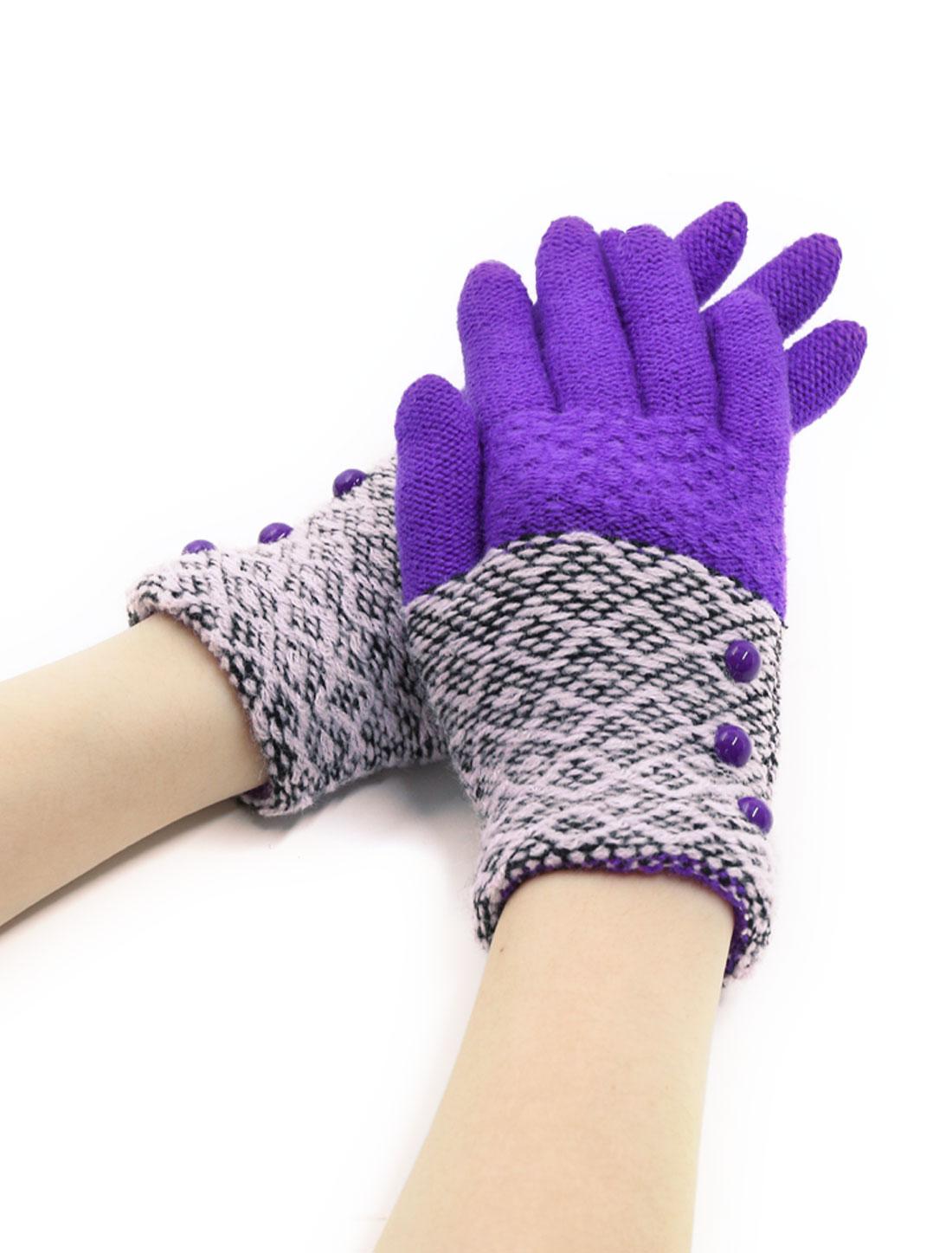 Girls Buttons Decor Color Block Full Finger Knitted Gloves Purple