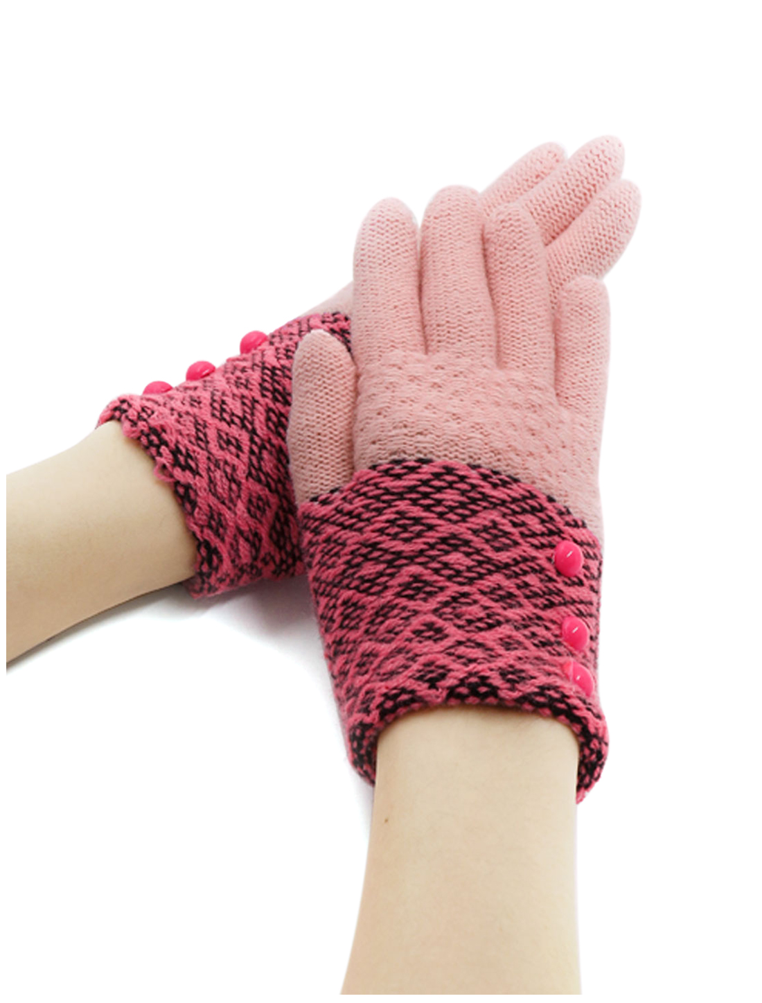 Girls Buttons Decor Color Block Full Finger Knitted Gloves Pink