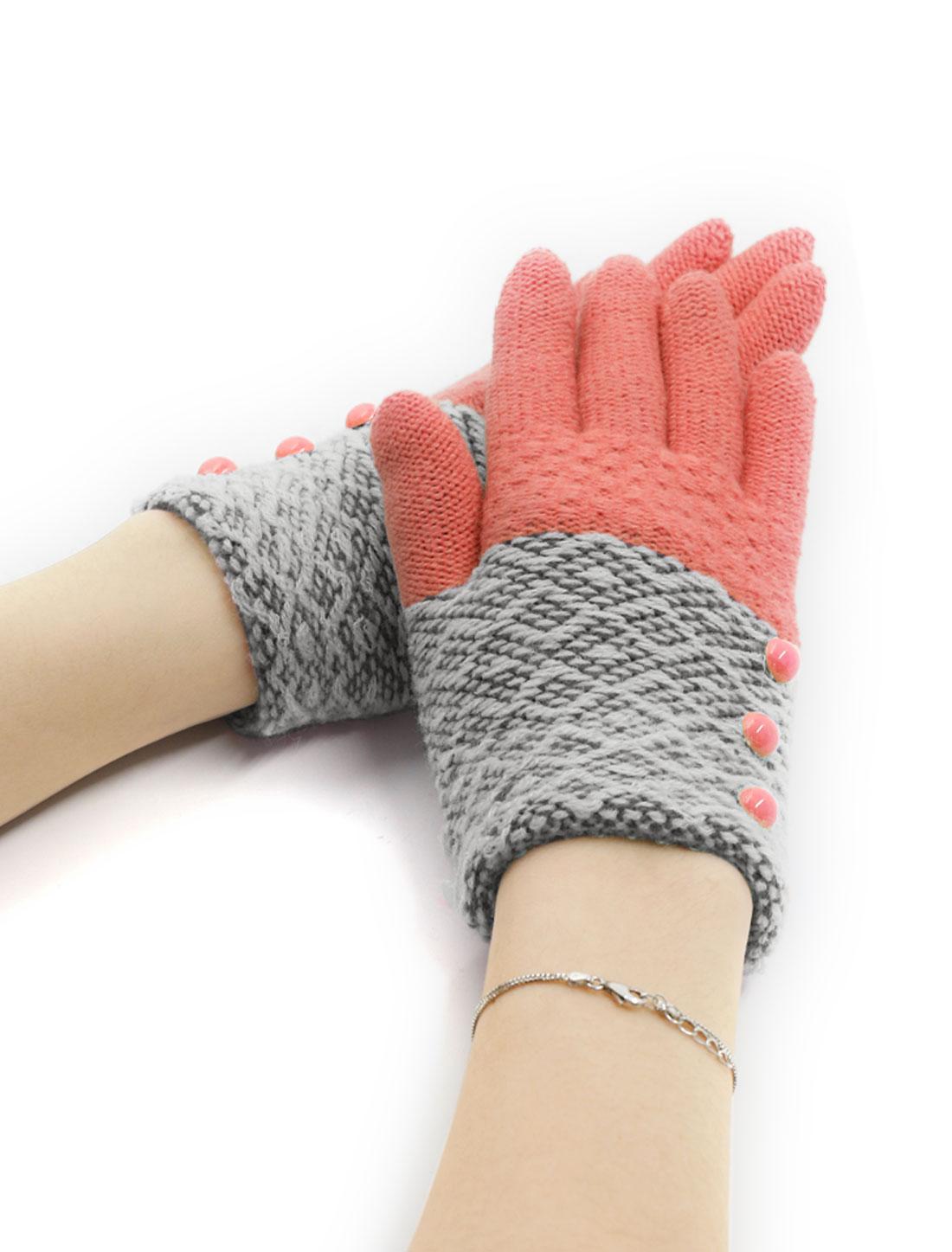 Girls Buttons Decor Color Block Full Finger Knitted Gloves Salmon