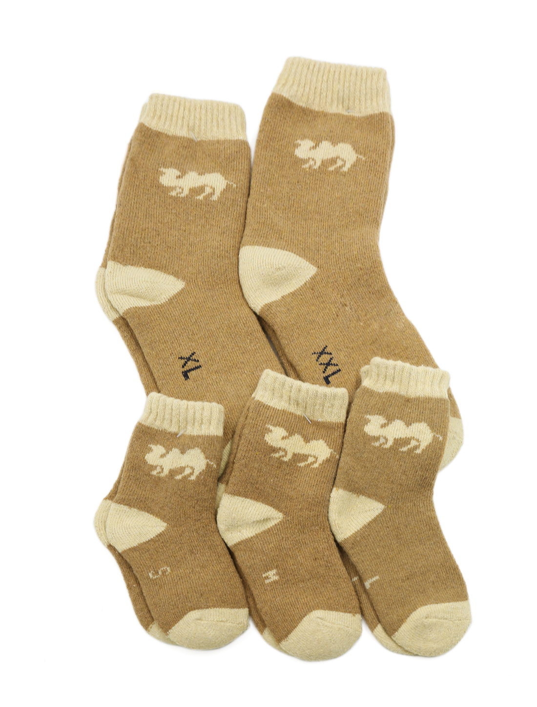 Family Matching Camel Pattern Knit Ankle High Socks 5 Pairs Brown