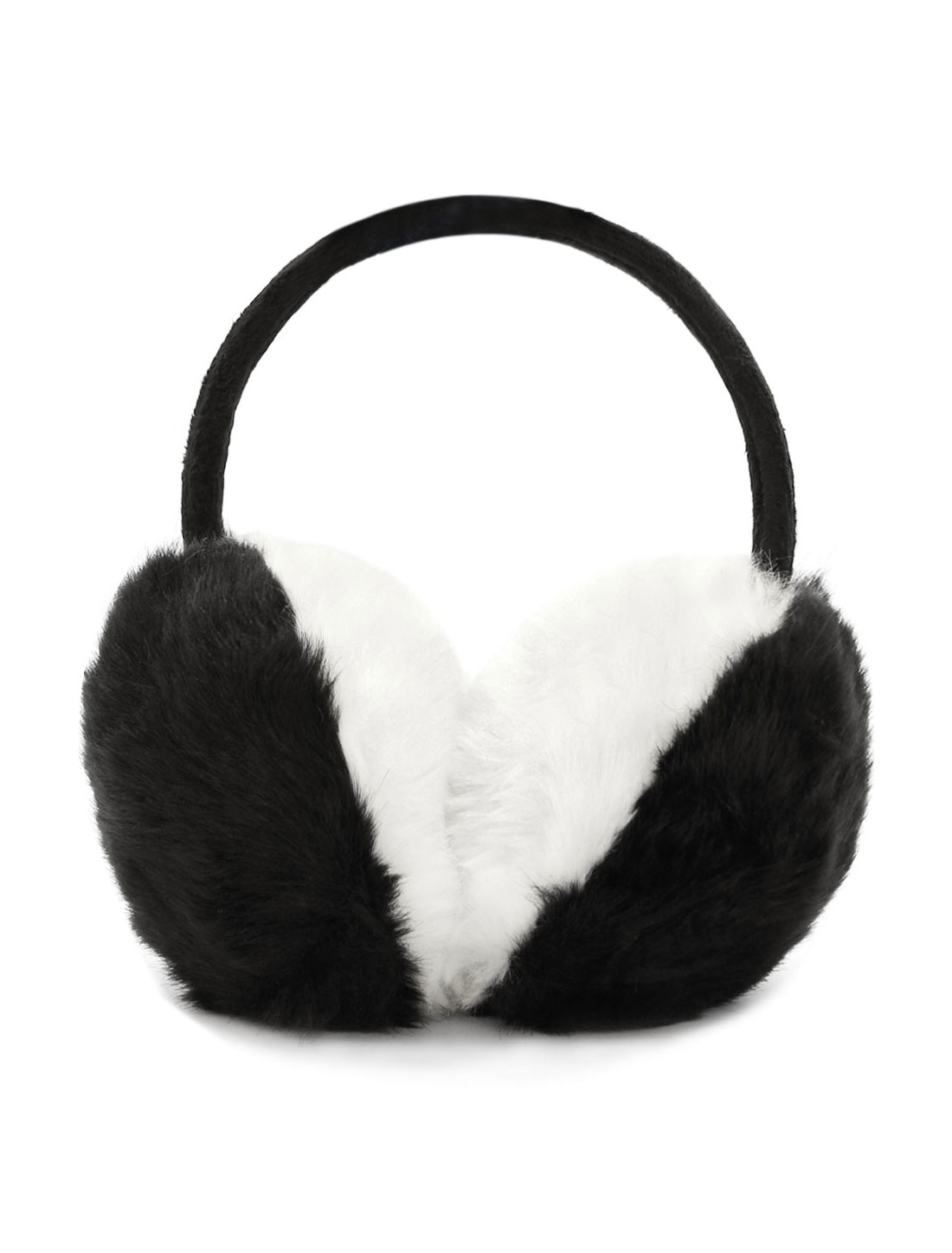 Ladies Color Block Quilted Plush Coated Ear Warmer Black