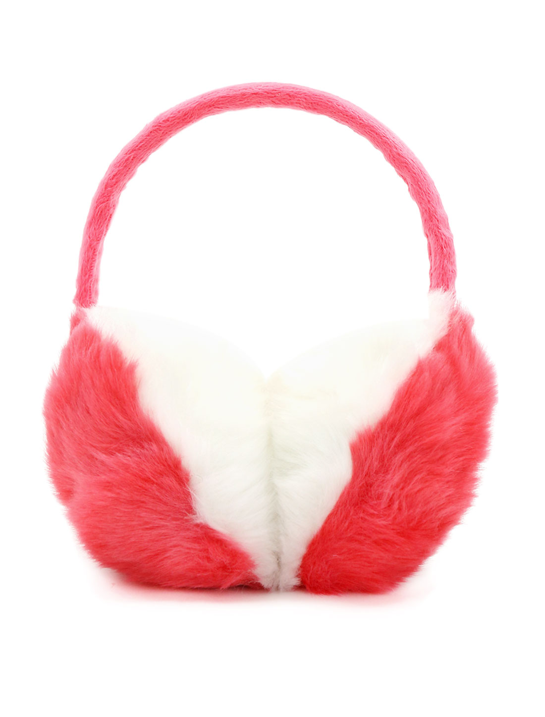 Ladies Color Block Quilted Plush Coated Ear Warmer Red