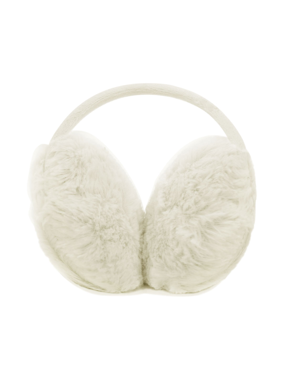 Ladies Metal Frame Quilted Plush Coated Ear Warmer White