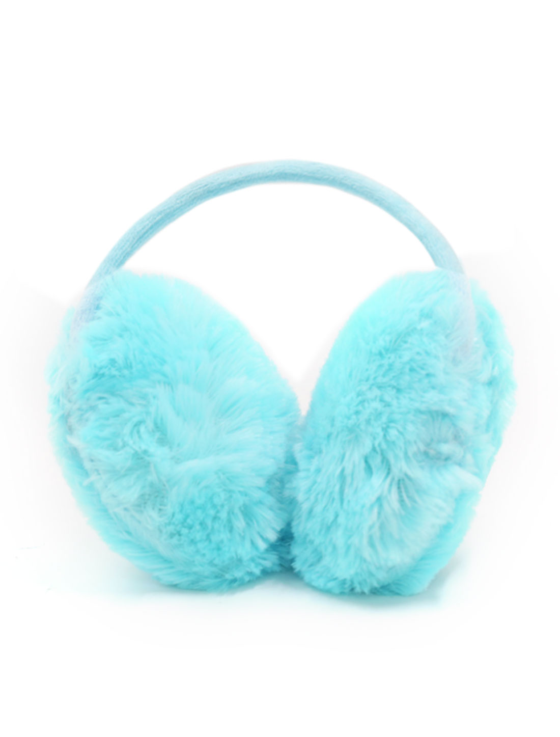 Ladies Metal Frame Quilted Plush Coated Ear Warmer Blue