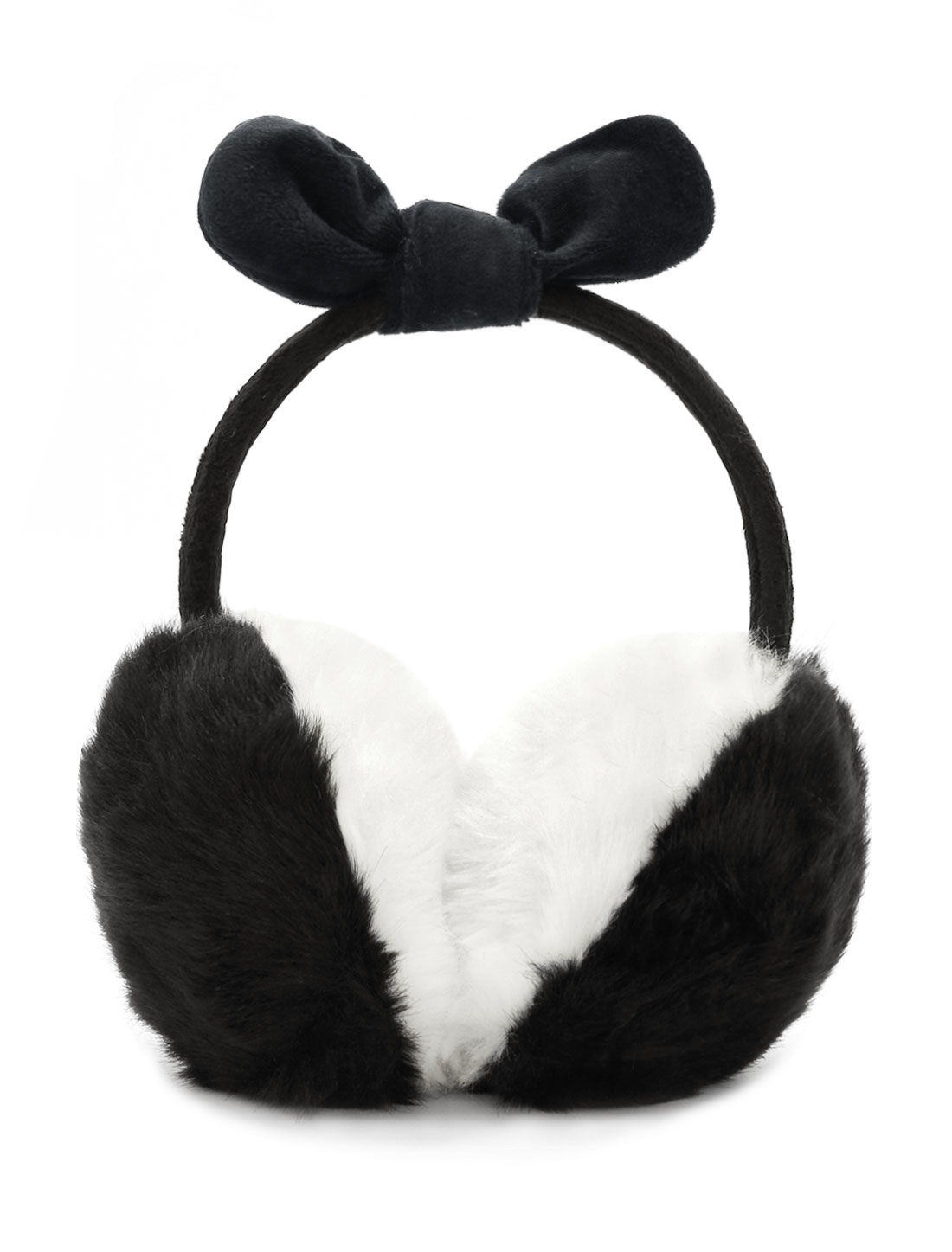 Ladies Fleece Bowknot Color Block Quilted Plush Earmuffs Black