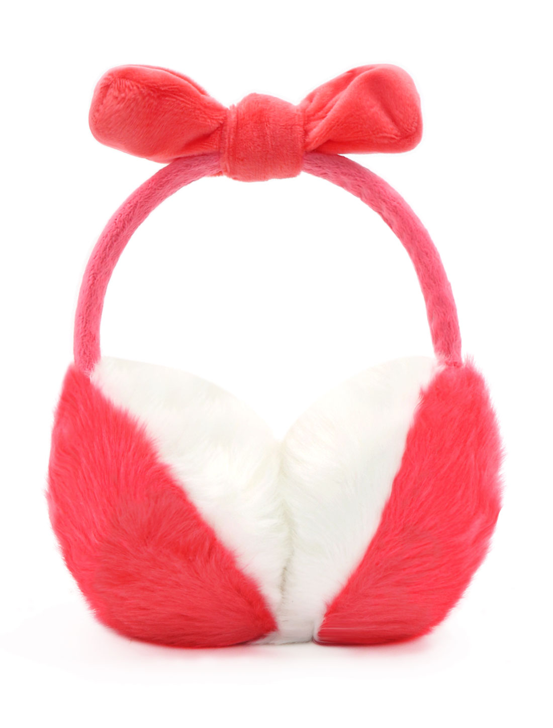 Ladies Fleece Bowknot Color Block Quilted Plush Earmuffs Red