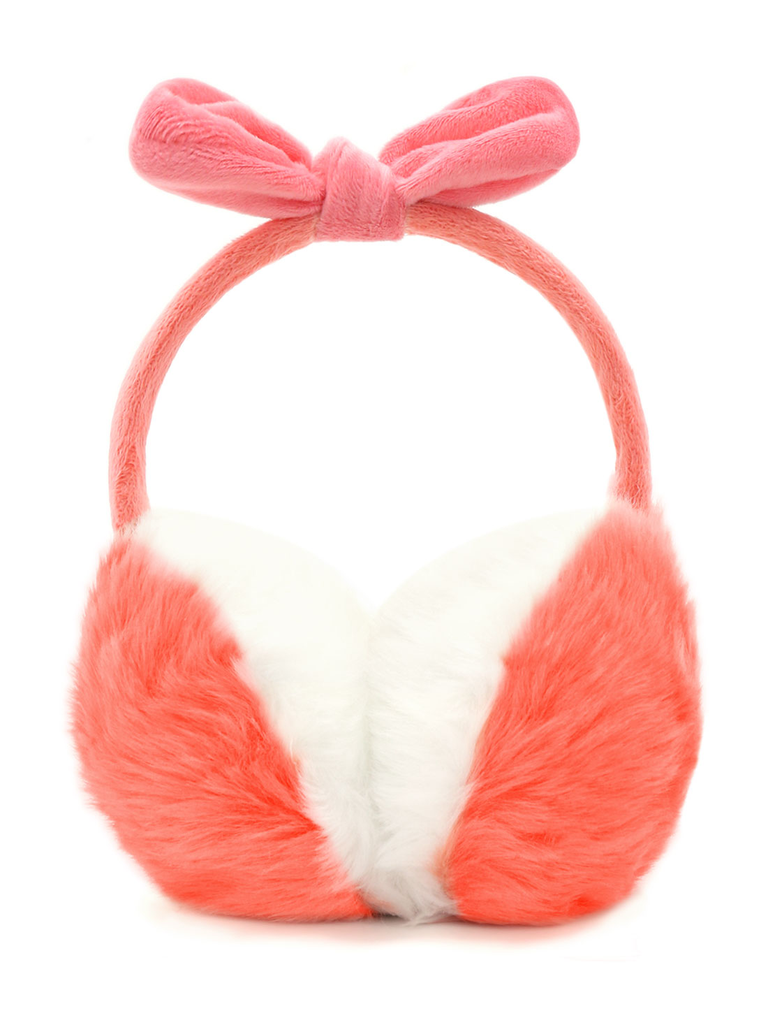 Ladies Fleece Bowknot Color Block Quilted Plush Earmuffs Pink