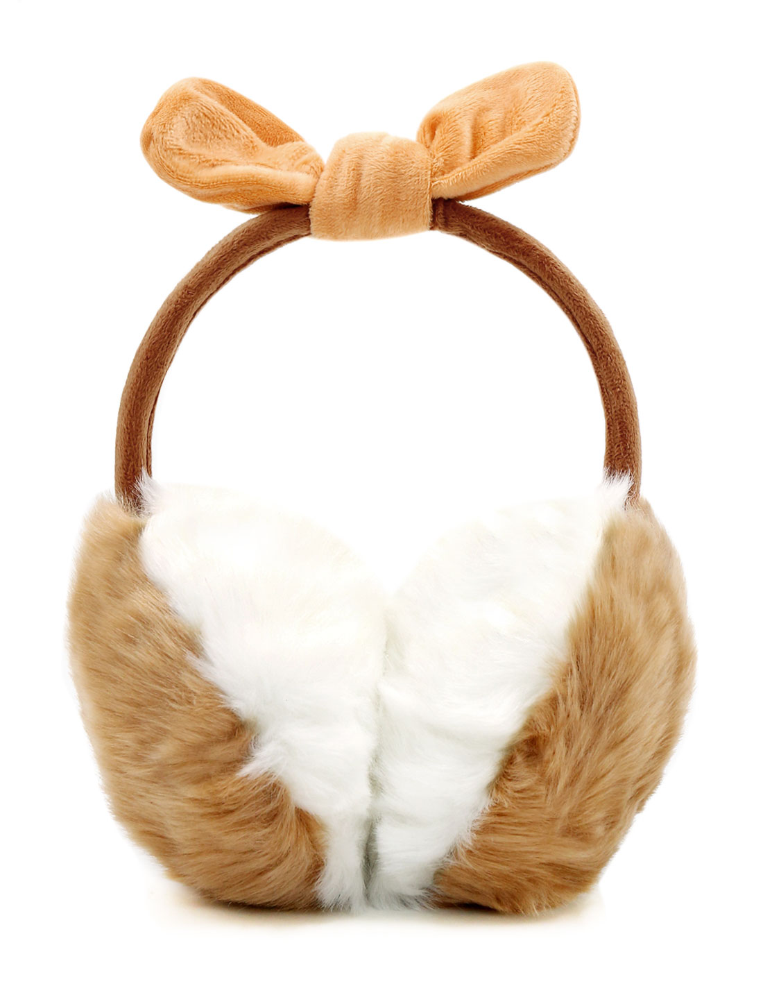 Ladies Fleece Bowknot Color Block Quilted Plush Earmuffs Beige