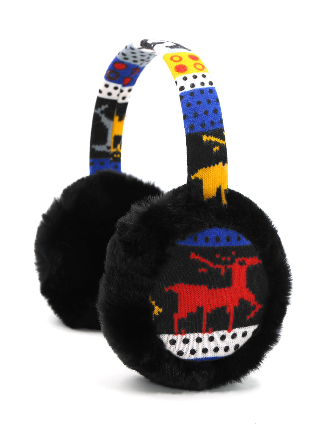 Ladies Knitted Deer Pattern Quilted Plush Earmuffs Black